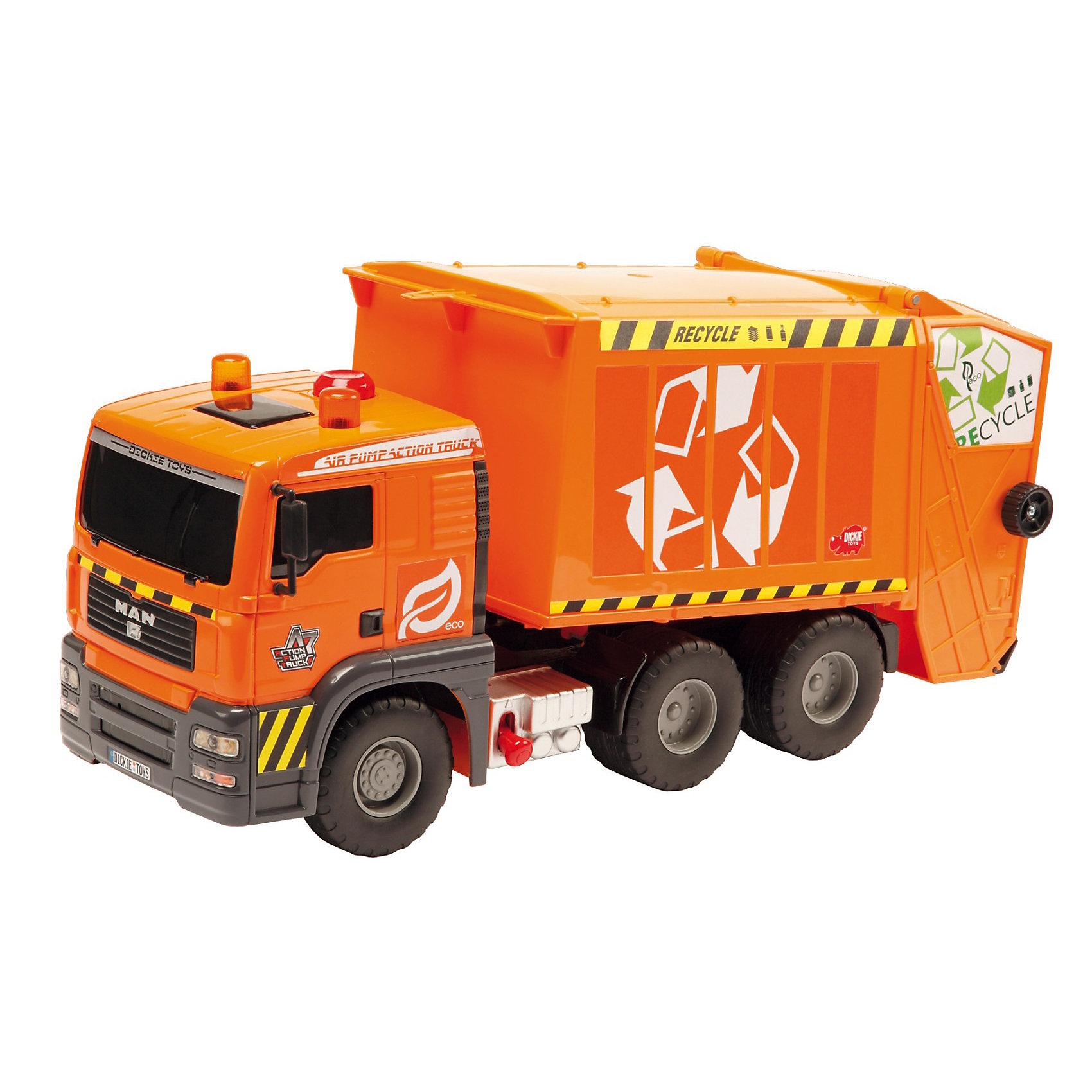 DICKIE Функциональный мусоровоз, 55 см.DICKIE Функциональный мусоровоз, 55 см. - реалистичный функциональный мусоровоз, который наверняка понравится всем юным любителям автотранспорта и спецтехники.<br><br>У мусоровоза имеется опрокидыватель и лифт для мусорных контейнеров. Мусорный бак и контейнер также входят в комплект. <br><br>При нажатии кнопки на кабине мусоровоза кузов поднимается и опрокидывается, а чтобы его опустить нужно нажать на рычаг под кузовом.<br>Задняя крышка кузова мусоровоза открывается.<br>У мусорного бака-контейнера открывается крышка, и контейнер можно наполнять различными мелкими деталями. Рабочий механизм захвата мусорных баков (ручной) подхватывает контейнер и выгружает мусор в кузов мусоровоза. <br><br><br>Дополнительная информация:<br><br><br>- Размер игрушки: 55 см.<br>- Материал: высококачественная пластмасса. <br>- Упаковка: коробка. <br>- Размеры коробки: 60х20,5х30 см. <br><br> Dickie — это серии невероятно популярных среди коллекционеров моделей машинок, повторяющих в миниатюрной версии настоящие автомобили. Используя последние технологии производства, уделяя особое внимание деталям и техническим соответствиям, Dickie добивается точности в повторении оригинальных прототипов автомобилей.<br><br>Ширина мм: 303<br>Глубина мм: 600<br>Высота мм: 198<br>Вес г: 2240<br>Возраст от месяцев: 36<br>Возраст до месяцев: 1164<br>Пол: Мужской<br>Возраст: Детский<br>SKU: 2265148