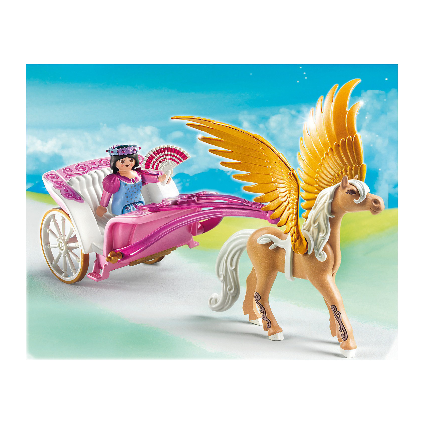 Повозка запряженная Пегасом, PLAYMOBILОтправляйся в сказочное путешествие вместе с принцессой и ее Пегасом! В наборе - фигурка принцессы, Пегас, колесница и множество прекрасных аксессуаров, которые сделают игру еще реалистичнее и увлекательнее. Фигурка имеет подвижные конечности, в руки можно вложить различные предметы. Пегас может кивать головой, а его крылья опускаются и поднимаются. Колесики повозки вращаются. Все детали прекрасно проработаны и выполнены из высококачественного экологичного пластика безопасного для детей. Играть с таким набором не только приятно и интересно - подобные виды игры развивают мелкую моторику, воображение, творческое мышление.<br><br>Дополнительная информация:<br><br>- 1 фигурка принцессы.<br>- Комплектация: 1 фигурка, Пегас, колесница, аксессуары. <br>- Материал: пластик.<br>- Размер упаковки: 20х25х10 см.<br>- Высота фигурки: 7,5 см.<br>- Голова, руки, ноги у фигурки подвижные.<br>- Колесики колесницы вращаются.<br><br>Набор Повозка запряженная Пегасом, PLAYMOBIL (Плеймобил), можно купить в нашем магазине.<br><br>Ширина мм: 252<br>Глубина мм: 202<br>Высота мм: 105<br>Вес г: 350<br>Возраст от месяцев: 48<br>Возраст до месяцев: 120<br>Пол: Женский<br>Возраст: Детский<br>SKU: 2265276