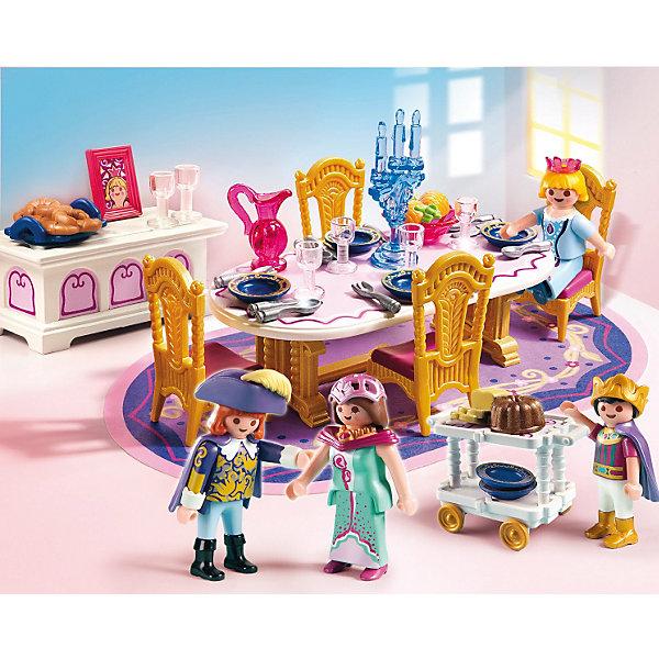 Королевский обеденный зал, PLAYMOBILПластмассовые конструкторы<br>Известный бренд  Playmobil  (Плеймобил) дарит своим  друзьям  игровой набор с элементами конструктора 5145 Королевский обеденный зал из серии Сказочный дворец.<br>Устройте настоящий королевский обед вместе с набором от Playmobil.<br><br>В наборе:<br>- овальный обеденный стол, <br>- ковер,<br>- комод для столовых приборов,<br>- стулья, столик на колёсах для подачи пищи, <br>- фигурки королевской семьи<br><br>Дополнительная информация:<br><br>- материал: пластмасса <br>- высота фигурок: 7,5 см. <br>-размер: 20см*25см*5см.   <br>-вес: 500 гр.<br><br>Игрушки от немецкого бренда Playmobil отличаются высоким качеством и надежностью. <br>Замечательное качество игрушек Playmobil — возможность совмещать наборы друг с другом, раздвигая границы игры до бесконечности. <br>Придумывайте и создавайте свои истории вместе с игрушками бренда Playmobil!<br><br>Королевский обеденный зал 5145 от PLAYMOBIL можно купить в нашем интернет-магазине.<br><br>Ширина мм: 254<br>Глубина мм: 202<br>Высота мм: 56<br>Вес г: 261<br>Возраст от месяцев: 48<br>Возраст до месяцев: 120<br>Пол: Женский<br>Возраст: Детский<br>SKU: 2265278