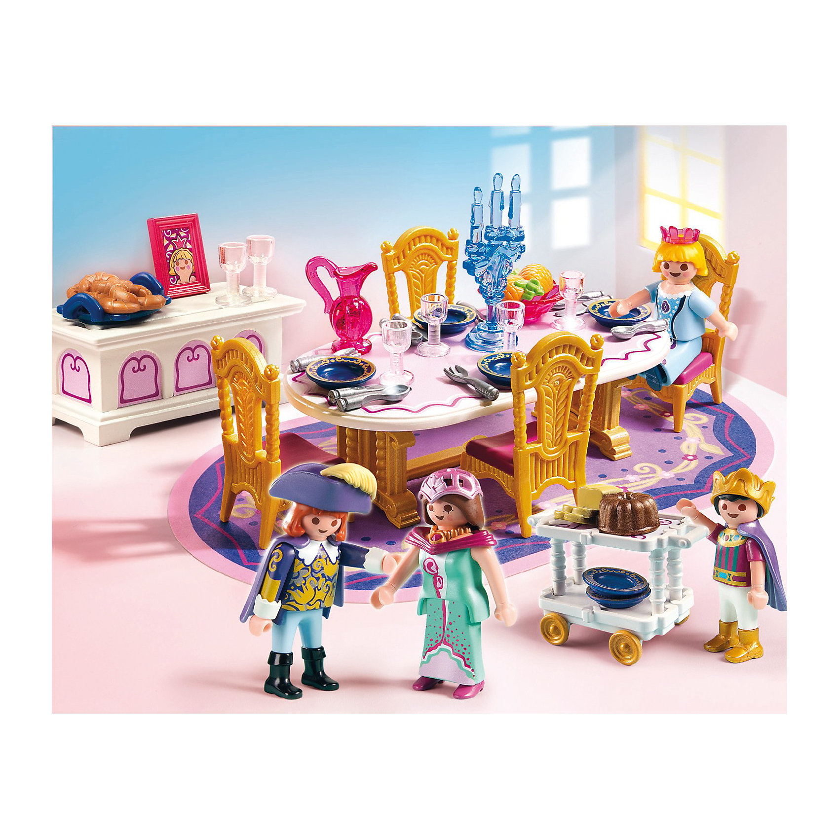 Королевский обеденный зал, PLAYMOBILИзвестный бренд  Playmobil  (Плеймобил) дарит своим  друзьям  игровой набор с элементами конструктора 5145 Королевский обеденный зал из серии Сказочный дворец.<br>Устройте настоящий королевский обед вместе с набором от Playmobil.<br><br>В наборе:<br>- овальный обеденный стол, <br>- ковер,<br>- комод для столовых приборов,<br>- стулья, столик на колёсах для подачи пищи, <br>- фигурки королевской семьи<br><br>Дополнительная информация:<br><br>- материал: пластмасса <br>- высота фигурок: 7,5 см. <br>-размер: 20см*25см*5см.   <br>-вес: 500 гр.<br><br>Игрушки от немецкого бренда Playmobil отличаются высоким качеством и надежностью. <br>Замечательное качество игрушек Playmobil — возможность совмещать наборы друг с другом, раздвигая границы игры до бесконечности. <br>Придумывайте и создавайте свои истории вместе с игрушками бренда Playmobil!<br><br>Королевский обеденный зал 5145 от PLAYMOBIL можно купить в нашем интернет-магазине.<br><br>Ширина мм: 254<br>Глубина мм: 202<br>Высота мм: 56<br>Вес г: 261<br>Возраст от месяцев: 48<br>Возраст до месяцев: 120<br>Пол: Женский<br>Возраст: Детский<br>SKU: 2265278