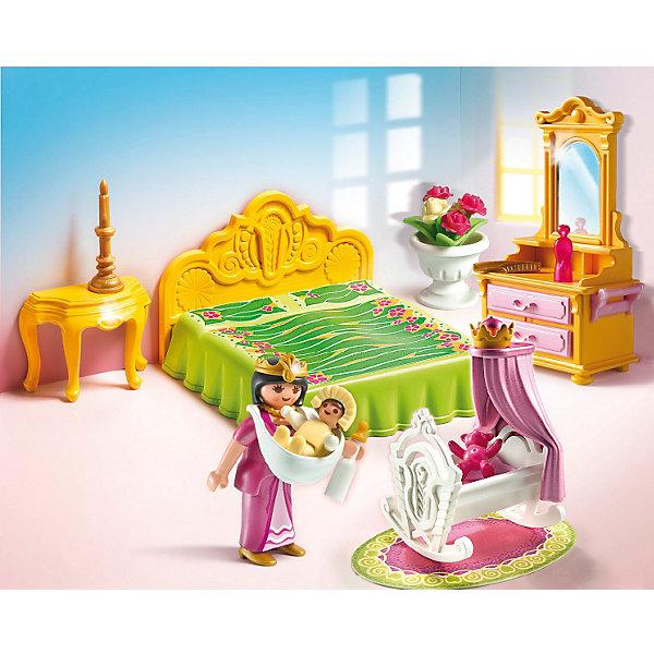 Королевская спальня с колыбелью, PLAYMOBILПластмассовые конструкторы<br>Известный бренд  Playmobil дарит своим  друзьям  игровой набор c элементами конструктора Королевская спальня с колыбелью<br>У королевы появился младенец и конечно для него только самое лучшее! <br>В наборе: <br>• колыбель с ребенком<br>• двуспальная кровать с покрывалом<br>• пуфик<br>• трюмо с зеркалом<br>• подсвечник<br>• бутылочка с соской<br>• игрушечный медведь<br>• ваза с цветами<br>• духи и расческа<br><br>Игрушки от немецкого бренда Playmobil отличаются высоким качеством и надежностью. <br>Замечательное качество игрушек Playmobil — возможность совмещать наборы друг с другом, раздвигая границы игры до бесконечности. <br>Придумывайте и создавайте свои истории вместе с игрушками бренда Playmobil (Плеймобил)!<br><br>Ширина мм: 258<br>Глубина мм: 200<br>Высота мм: 82<br>Вес г: 243<br>Возраст от месяцев: 48<br>Возраст до месяцев: 120<br>Пол: Женский<br>Возраст: Детский<br>SKU: 2265279
