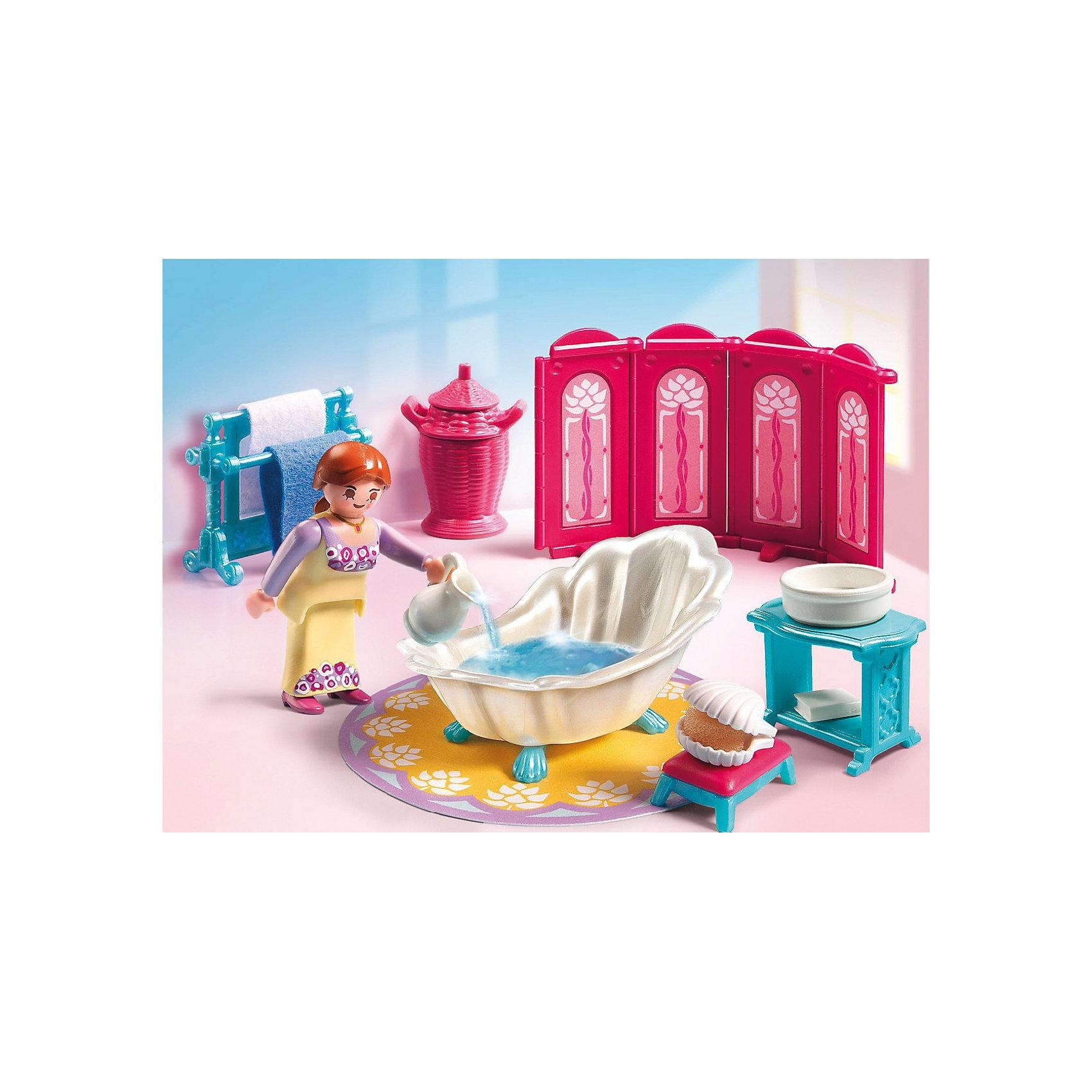 Королевская ванная комната, PLAYMOBILПластмассовые конструкторы<br>Известный бренд  Playmobil дарит своим  друзьям  игровой набор с элементами конструктора Королевская ванная комната<br>Даже в ванной у королевской особы должно быть все по королевские!<br><br>В наборе:<br>- ванна в форме ракушки, коврик, фигурка девушки, ширма, два полотенца, корзина, пуфик, кувшин, тазик, мыло, мыльница, вешалка, столик.<br><br>Игрушки от немецкого бренда Playmobil отличаются высоким качеством и надежностью. <br>Замечательное качество игрушек Playmobil — возможность совмещать наборы друг с другом, раздвигая границы игры до бесконечности. <br>Придумывайте и создавайте свои истории вместе с игрушками бренда Плеймобил!<br><br>Ширина мм: 203<br>Глубина мм: 151<br>Высота мм: 79<br>Вес г: 146<br>Возраст от месяцев: 48<br>Возраст до месяцев: 120<br>Пол: Женский<br>Возраст: Детский<br>SKU: 2265280