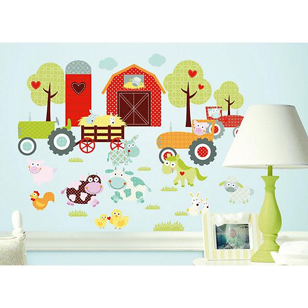Наклейки для декора Весёлая фермаДетские предметы интерьера<br>Наклейки для декора Счастливая ферма от знаменитого производителя RoomMates станут украшением вашей квартиры! Придайте веселый и забавный вид комнате вашего ребенка с новым увлекательным набором наклеек для декора! Листы наклеек, входящие в набор, содержат изображения ярко-красного сарая, пышных деревьев и любимых фермерских животных, таких, например, как коровы, свиньи, курицы, овцы и так далее. Забавные паттерны и модные цвета делают набор идеально подходящим для детской или игровой комнаты. Всего в наборе 42 стикера. Наклейки не нужно вырезать - их следует просто отсоединить от защитного слоя и поместить на стену или любую другую плоскую гладкую поверхность. Наклейки многоразовые: их легко переклеивать и снимать со стены, они не оставляют липких следов на поверхности. В каждой индивидуальной упаковке Вы можете найти 4 листа с различными наклейками! Таким образом, покупая наклейки фирмы RoomMates, Вы получаете гораздо больший ассортимент наклеек, имея возможность украсить ими различные поверхности в доме.<br>Ширина мм: 267; Глубина мм: 123; Высота мм: 28; Вес г: 164; Цвет: mehrfarbig; Возраст от месяцев: 0; Возраст до месяцев: 60; Пол: Унисекс; Возраст: Детский; SKU: 2269703;