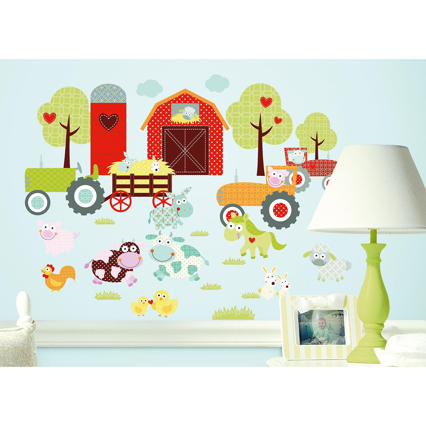 Наклейки для декора Весёлая фермаПредметы интерьера<br>Наклейки для декора Счастливая ферма от знаменитого производителя RoomMates станут украшением вашей квартиры! Придайте веселый и забавный вид комнате вашего ребенка с новым увлекательным набором наклеек для декора! Листы наклеек, входящие в набор, содержат изображения ярко-красного сарая, пышных деревьев и любимых фермерских животных, таких, например, как коровы, свиньи, курицы, овцы и так далее. Забавные паттерны и модные цвета делают набор идеально подходящим для детской или игровой комнаты. Всего в наборе 42 стикера. Наклейки не нужно вырезать - их следует просто отсоединить от защитного слоя и поместить на стену или любую другую плоскую гладкую поверхность. Наклейки многоразовые: их легко переклеивать и снимать со стены, они не оставляют липких следов на поверхности. В каждой индивидуальной упаковке Вы можете найти 4 листа с различными наклейками! Таким образом, покупая наклейки фирмы RoomMates, Вы получаете гораздо больший ассортимент наклеек, имея возможность украсить ими различные поверхности в доме.<br><br>Ширина мм: 267<br>Глубина мм: 123<br>Высота мм: 28<br>Вес г: 164<br>Цвет: mehrfarbig<br>Возраст от месяцев: 0<br>Возраст до месяцев: 60<br>Пол: Унисекс<br>Возраст: Детский<br>SKU: 2269703