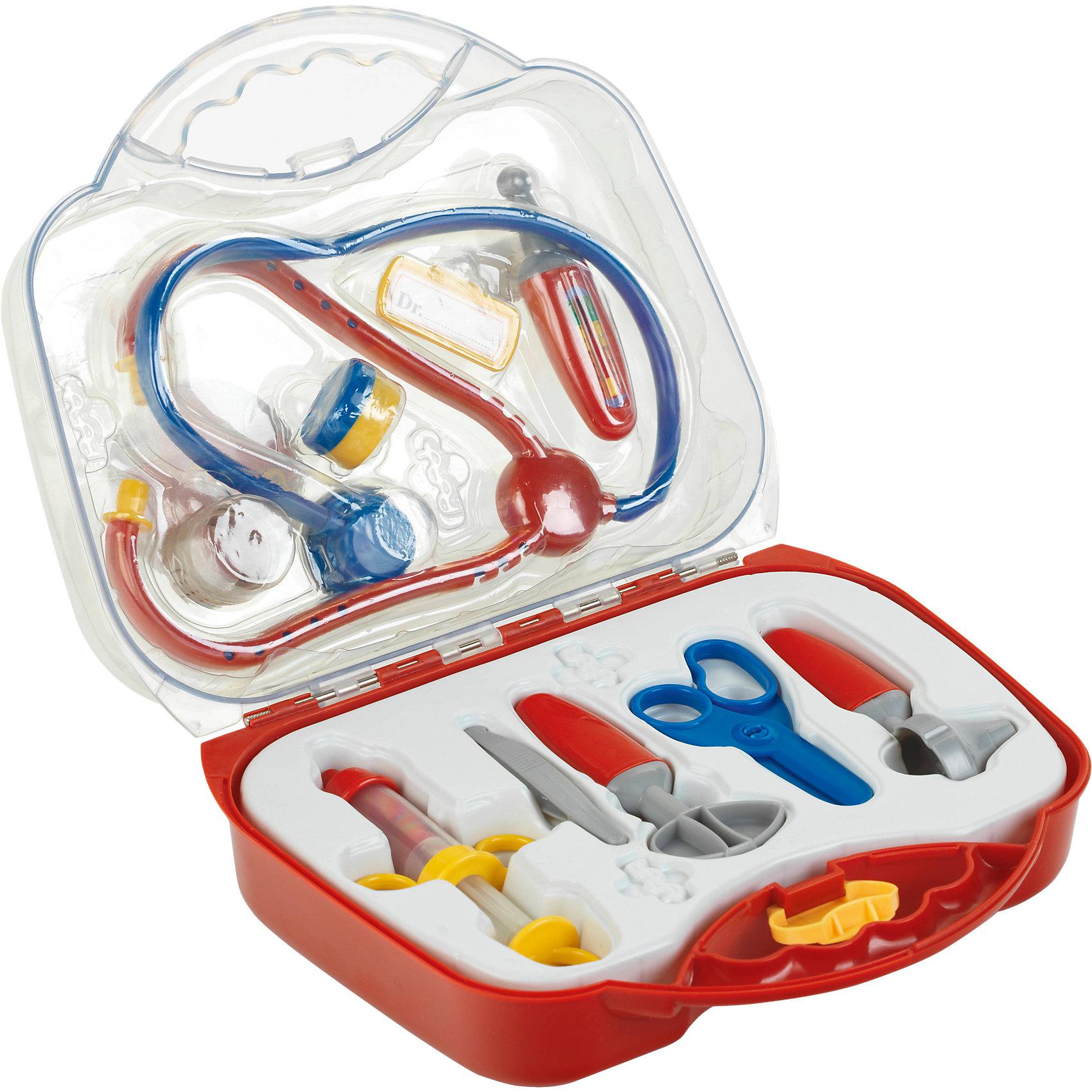 Набор доктора, KleinНабор доктора Klein(Кляйн) поможет ребенку почувствовать себя настоящим профессиональным врачом. Все инструменты аккуратно сложены в пластиковом кейсе с прозрачной крышкой. Набор доктора - отличный повод для игр всей семьей!<br><br>Дополнительная информация:<br>В комплекте: стетоскоп, градусник, молоточек, инструмент отоларинголога, пластырь, шприц, бейджик, баночка для лекарства, ножницы, пинцет<br>Размер: 27х10х24 см<br>Вес: 200 грамм<br><br>Вы можете приобрести набор доктора Klein9Кляйн) в нашем интернет-магазине.<br><br>Ширина мм: 278<br>Глубина мм: 231<br>Высота мм: 96<br>Вес г: 558<br>Возраст от месяцев: 36<br>Возраст до месяцев: 72<br>Пол: Женский<br>Возраст: Детский<br>SKU: 2271772