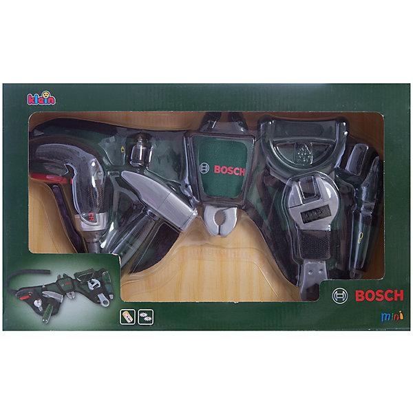 Ремень с инструментами Bosch, KleinНаборы инструментов<br>Это набор с самыми необходимыми инструментами для ремонта.  Ребенок сможет почувствовать себя настоящим ремонтником и спасателем домочадцев в случае непредвиденной бытовой аварии. <br><br>Дополнительная информация: <br><br>- Возраст: от 3 лет.<br>- Материал: пластик, текстиль, металл.<br>- В наборе: пила, плоскогубцы, разводной ключ, отвертка, молоток, дрель, насадка, ремень.<br>- Цвет: темно-зеленый.<br>- Батарейки не входят в комплект.<br>- Тип батареек: 3 х ААА / LR 0.3 1.5 V (мизинчиковые).<br>- Размер упаковки: 42х6х25 см.<br><br>Купить ремень с инструментами Bosch от Klein, можно в нашем магазине.<br>Ширина мм: 256; Глубина мм: 438; Высота мм: 71; Вес г: 725; Возраст от месяцев: 36; Возраст до месяцев: 96; Пол: Мужской; Возраст: Детский; SKU: 2271777;