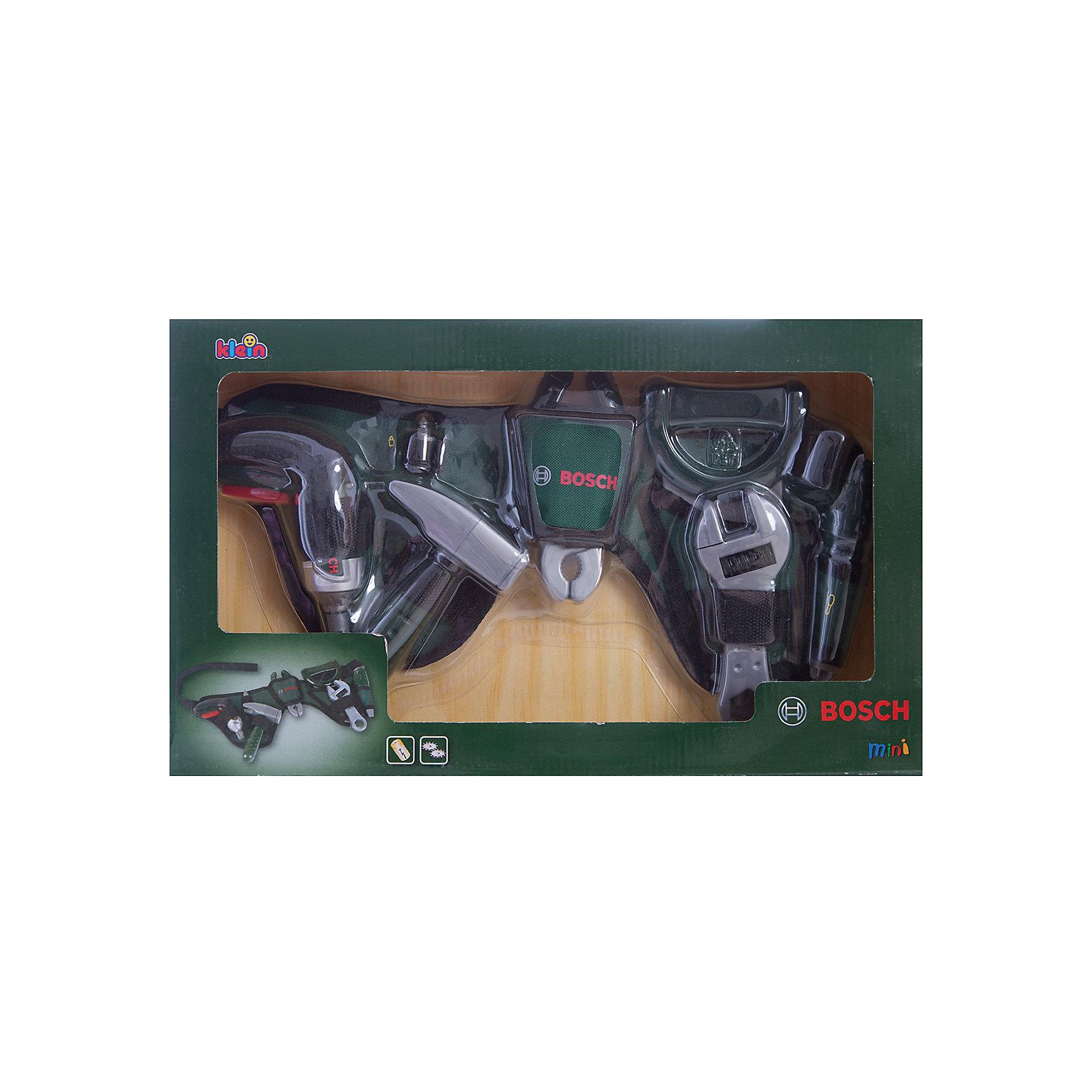 Ремень с инструментами Bosch, KleinМастерская и инструменты<br>Это набор с самыми необходимыми инструментами для ремонта.  Ребенок сможет почувствовать себя настоящим ремонтником и спасателем домочадцев в случае непредвиденной бытовой аварии. <br><br>Дополнительная информация: <br><br>- Возраст: от 3 лет.<br>- Материал: пластик, текстиль, металл.<br>- В наборе: пила, плоскогубцы, разводной ключ, отвертка, молоток, дрель, насадка, ремень.<br>- Цвет: темно-зеленый.<br>- Батарейки не входят в комплект.<br>- Тип батареек: 3 х ААА / LR 0.3 1.5 V (мизинчиковые).<br>- Размер упаковки: 42х6х25 см.<br><br>Купить ремень с инструментами Bosch от Klein, можно в нашем магазине.<br><br>Ширина мм: 424<br>Глубина мм: 253<br>Высота мм: 73<br>Вес г: 758<br>Возраст от месяцев: 36<br>Возраст до месяцев: 96<br>Пол: Мужской<br>Возраст: Детский<br>SKU: 2271777