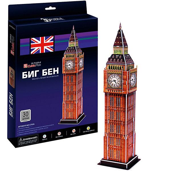 Пазл 3D Биг бен 2 (Лондон), 30 деталей, CubicFun3D пазлы<br>Биг-Бен — колокольная башня в Лондоне. Официальное наименование — «Часовая башня Вестминстерского дворца», также её называют «Башней Св. Стефана».Башня была возведена в 1858 году, башенные часы были пущены в ход 21 мая 1859 года. Высота башни 61 метр (не считая шпиля); часы располагаются на высоте 55 м от земли. При диаметре циферблата в 7 метров и длиной стрелок в 2,7 и 4,2 метра, часы долгое время считались самыми большими в мире. Биг-Бен стал одним из самых узнаваемых символов Великобритании, часто используемым в рекламе, фильмах и т. п. <br><br>УРОВЕНЬ СЛОЖНОСТИ - 3<br><br>Функции:<br>- помогает в развитии логики и творческих способностей ребенка;<br>- помогает в формировании мышления, речи, внимания, восприятия и воображения;<br>- развивает моторику рук;<br>- расширяет кругозор ребенка и стимулирует к познанию новой информации;<br><br>Дополнительная информация:<br><br>- обучающая, яркая и реалистичная модель;<br>- идеально и легко собирается без инструментов;<br>- увлекательный игровой процесс;<br>- тематический ассортимент;<br>- новый качественный материал (ламинированный пенокартон)<br>- размеры – 0.22 х 0.3 х 0.019 м<br>- вес – 0.2 кг<br>- новый качественный материал (ламинированный пенокартон)<br><br>Cubic Fun Игрушку Биг бен 2 (Лондон) можно купить в нашем магазине.<br><br>Ширина мм: 19<br>Глубина мм: 220<br>Высота мм: 300<br>Вес г: 531<br>Возраст от месяцев: 60<br>Возраст до месяцев: 144<br>Пол: Унисекс<br>Возраст: Детский<br>SKU: 2276282