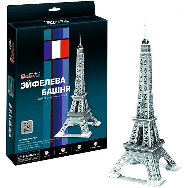 Пазл 3D Эйфелева Башня 2 (Париж), 33 детали, CubicFun3D пазлы<br>Башня является самой узнаваемой архитектурной достопримечательностью Парижа, имеющая мировую известность как символ Франции, названная в честь своего конструктора Густава Эйфеля.<br><br>УРОВЕНЬ СЛОЖНОСТИ - 2 <br><br>Функции:<br>- помогает в развитии логики и творческих способностей ребенка;<br>- помогает в формировании мышления, речи, внимания, восприятия и воображения;<br>- развивает моторику рук;<br>- расширяет кругозор ребенка и стимулирует к познанию новой информации;<br><br>Практические характеристики:<br>- обучающая, яркая и реалистичная модель;<br>- идеально и легко собирается без инструментов;<br>- увлекательный игровой процесс;<br>- тематический ассортимент;<br>- новый качественный материал (ламинированный пенокартон)<br><br>Ширина мм: 19<br>Глубина мм: 220<br>Высота мм: 330<br>Вес г: 533<br>Возраст от месяцев: 60<br>Возраст до месяцев: 144<br>Пол: Унисекс<br>Возраст: Детский<br>SKU: 2276283