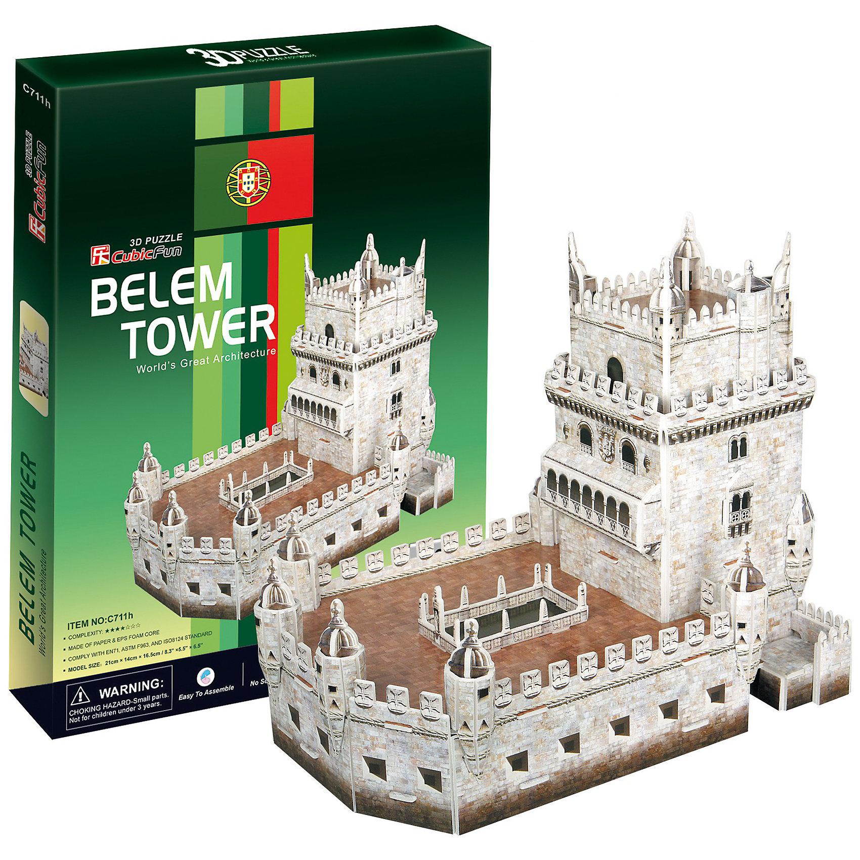 CubicFun Пазл 3D Башня Белен (Португалия), 46 деталей, CubicFun cubicfun 3d пазл эйфелева башня 2 франция cubicfun 33 детали