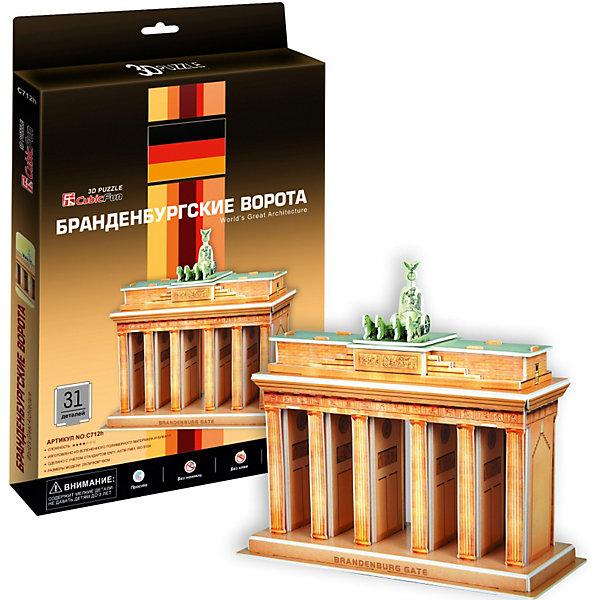 Пазл 3D Браденбургские ворота (Берлин), 31 деталь, CubicFun3D пазлы<br>Бранденбургские ворота — архитектурный памятник в Берлине (Германия). Отметившие своё двухсотлетие Бранденбургские ворота являются самым знаменитым символом Берлина и Германии. Бранденбургские ворота — это единственные сохранившиеся городские ворота Берлина, их первоначальное название — Ворота мира. Они были построены Карлом Готтгардом Ланггансом в 1789—1791 гг. Образцом для Бранденбургских ворот послужили Пропилеи Акрополя в Афинах. Фасад ворот был первоначально выкрашен в белый цвет. Украшение фасада принадлежит руке Иоганна Готфрида Шадова; он также спроектировал и шестиметровую квадригу, которой управляет богиня Победы Виктория. <br><br>УРОВЕНЬ СЛОЖНОСТИ - 2<br><br>Функции<br>- помогает в развитии логики и творческих способностей ребенка;<br>- помогает в формировании мышления, речи, внимания, восприятия и воображения;<br>- развивает моторику рук;<br>- расширяет кругозор ребенка и стимулирует к познанию новой информации;<br><br>Практические характеристики:<br>- обучающая, яркая и реалистичная модель;<br>- идеально и легко собирается без инструментов;<br>- увлекательный игровой процесс;<br>- тематический ассортимент;<br>- новый качественный материал (ламинированный пенокартон)<br><br>Ширина мм: 20<br>Глубина мм: 220<br>Высота мм: 300<br>Вес г: 533<br>Возраст от месяцев: 60<br>Возраст до месяцев: 144<br>Пол: Унисекс<br>Возраст: Детский<br>Количество деталей: 31<br>SKU: 2276287