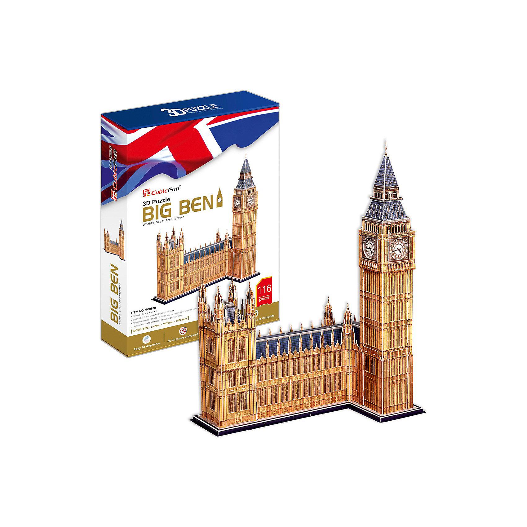 Пазл 3D Биг Бен (Великобритания), 116 деталей, CubicFun3D пазлы<br>Биг-Бен — колокольная башня в Лондоне. Официальное наименование — «Часовая башня Вестминстерского дворца», также её называют «Башней Св. Стефана».Башня была возведена в 1858 году, башенные часы были пущены в ход 21 мая 1859 года. Высота башни 61 метр (не считая шпиля); часы располагаются на высоте 55 м от земли. При диаметре циферблата в 7 метров и длиной стрелок в 2,7 и 4,2 метра, часы долгое время считались самыми большими в мире. Биг-Бен стал одним из самых узнаваемых символов Великобритании, часто используемым в рекламе, фильмах и т. п. <br><br>УРОВЕНЬ СЛОЖНОСТИ - 6<br><br>Функции:<br>- помогает в развитии логики и творческих способностей ребенка;<br>- помогает в формировании мышления, речи, внимания, восприятия и воображения;<br>- развивает моторику рук;<br>- расширяет кругозор ребенка и стимулирует к познанию новой информации;<br><br>Практические характеристики:<br>- обучающая, яркая и реалистичная модель;<br>- идеально и легко собирается без инструментов;<br>- увлекательный игровой процесс;<br>- тематический ассортимент;<br>- новый качественный материал (ламинированный пенокартон)<br><br>Ширина мм: 60<br>Глубина мм: 222<br>Высота мм: 330<br>Вес г: 1161<br>Возраст от месяцев: 60<br>Возраст до месяцев: 144<br>Пол: Унисекс<br>Возраст: Детский<br>SKU: 2276290