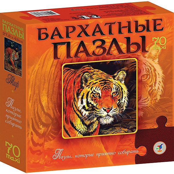 Купить Бархатный пазл Тигр , 70 макси-деталей, Дрофа-Медиа, Россия, Унисекс