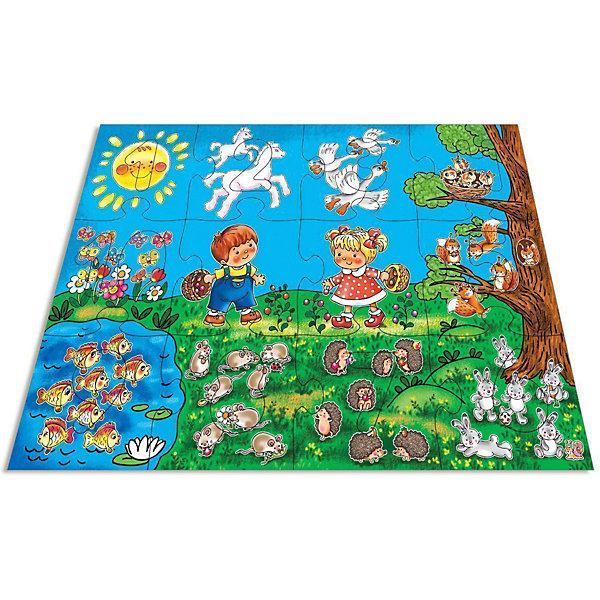 Мозаика для малышей Арифметика, Дрофа-МедиаМозаика<br>Крупные и яркие детали мозаики привлекают внимание даже самых маленьких детей. <br><br>В состав входит 12 крупных (16,5 х 17,5 см) элементов с пазловыми замками. Из них можно составить большую картинку 50 х 70 см. Получившаяся картинка - это луг, на котором обитает множество насекомых. На 10 кусочках пазла изображено от 1 до 10 насекомых, на 2-х оставшихся - мальчик, за ними наблюдающий. <br><br>Отличие данной мозаики от классического пазла в том, что в каждом из элементов с насекомыми сделано отверстие в виде цифры, которая соответствует количеству изображенных насекомых. Сами цифры также входят в комплект, так что ребенку предстоит не только собрать пазл, но и правильно подобрать цифры к отверстиям. <br><br><br>Картинку удобно собирать, сидя на полу: большие фрагменты рассчитаны на малышей и не потеряются. Игра развивает зрительное восприятие, мышление и мелкую моторику рук, учит подбирать подходящие по форме части рисунка и складывать целое изображение.<br><br>Дополнительная информация:<br><br>Состав: 23 элемента - 12 элементов пазла и 11 цифр-вкладышей.<br>Размер элемента: 16,5 х 17,5 см<br>Размер собранной картинки: 50х70 см<br>Материал: плотный картон<br><br>Внимание. Упаковка товара может быть представлена в другом дизайне. К сожалению, предварительный выбор определенного варианта упаковки невозможен.<br><br>Ширина мм: 265<br>Глубина мм: 50<br>Высота мм: 275<br>Вес г: 620<br>Возраст от месяцев: 48<br>Возраст до месяцев: 84<br>Пол: Унисекс<br>Возраст: Детский<br>SKU: 2281430