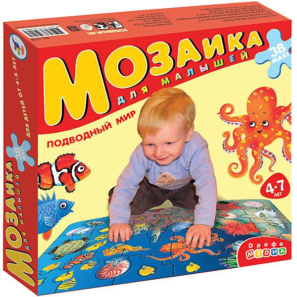 Мозаика для малышей Подводный мир, Дрофа-МедиаПазлы для малышей<br>Крупные и яркие детали мозаики Подводный мир от издательства  Дрофа-Медиа (Drofa-media) привлекают внимание даже самых маленьких детей. <br><br>Картинку удобно собирать, сидя на полу: большие фрагменты рассчитаны на малышей и не потеряются. Игра развивает зрительное восприятие, мышление и мелкую моторику рук, учит подбирать подходящие по форме части рисунка и складывать целое изображение, знакомит с различными видами морских обитателей. <br>Набор состоит из 24 элементов разнообразной формы, соединяющиеся пазловыми замками. Среди кусочков мозаики встречаются и цельные фигурки морских животных.<br><br>Порадуйте Вашего малыша прекрасным подарком!<br><br>Дополнительная информация:<br><br>- В комплекте: 24 макси-детали<br>- Материал: плотный картон<br>- Размер собранного поля: 700 х 500 мм<br>- Размер упаковки: 265 х 50 х 275 мм<br>- Вес: 620 г.<br><br>Мозаику для малышей «Подводный мир», Дрофа-Медиа( Drofa-media) можно купить в интернет-магазине.<br><br>Ширина мм: 265<br>Глубина мм: 50<br>Высота мм: 275<br>Вес г: 620<br>Возраст от месяцев: 48<br>Возраст до месяцев: 84<br>Пол: Унисекс<br>Возраст: Детский<br>SKU: 2281434