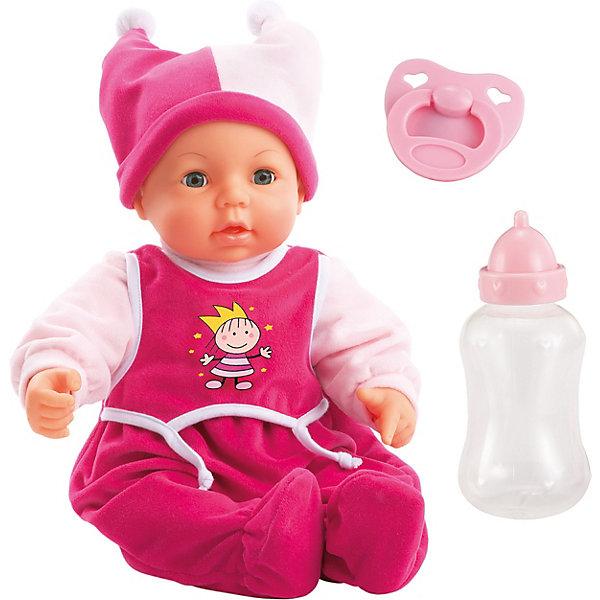 Интерактивная кукла Bayer, Моя малышка, 46смКуклы<br>Характеристики товара:<br><br>• возраст: от 3 лет;<br>• материал: пластик, текстиль;<br>• в комплекте: кукла, бутылочка, соска;<br>• высота куклы: 46 см;<br>• тип батареек: 2 батарейки АА;<br>• наличие батареек: в комплекте;<br>• размер упаковки: 43х26,5х17 см;<br>• вес упаковки: 1,4 кг.<br><br>Интерактивная кукла Bayer «Моя малышка» - очаровательный младенец, одетый в розовый комбинезон и забавную шапочку. Игра с пупсом привьет девочке чувство заботы и ответственности. <br><br>Когда куколка спит, она закрывает глазки. Если поднести бутылочку ко рту, то пупс зашевелит губами, как будто пьет водичку. Нажав на кнопку, куколка засмеется, как настоящий малыш. У куклы подвижные голова, ручки, ножки, соединенные шарнирами.<br><br>Интерактивную куклу Bayer «Моя малышка» можно приобрести в нашем интернет-магазине.<br>Ширина мм: 436; Глубина мм: 268; Высота мм: 182; Вес г: 1150; Возраст от месяцев: 36; Возраст до месяцев: 60; Пол: Женский; Возраст: Детский; SKU: 2285828;