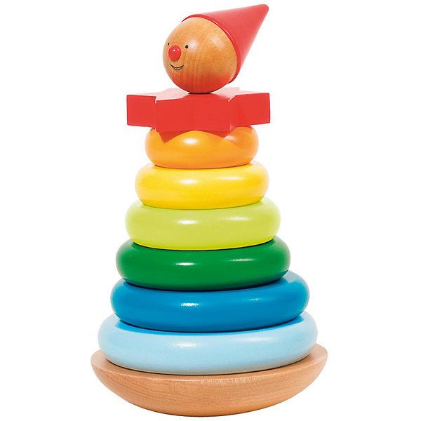 Пирамидка Клоун, gokiДеревянные игрушки<br>Яркая оригинальная пирамидка обязательно привлечет внимание детей и поможет развить мелкую моторику, координацию и цветовосприятие. Но собрать пирамидку не так просто: основание качалка - делает игру еще более увлекательной и интересной.  Пирамидка выполнена из натуральных материалов абсолютно безопасных для детей. <br><br>Дополнительная информация:<br><br>- Материал: дерево.<br>- Высота: 19,5 см.<br>- Диаметр: 11,5 см.<br>- Комплектация: пирамидка (8 элементов), основание.<br><br>Пирамидку Клоун, goki (Гоки) можно купить в нашем магазине.<br><br>Ширина мм: 204<br>Глубина мм: 127<br>Высота мм: 126<br>Вес г: 663<br>Возраст от месяцев: 24<br>Возраст до месяцев: 48<br>Пол: Унисекс<br>Возраст: Детский<br>SKU: 2319494