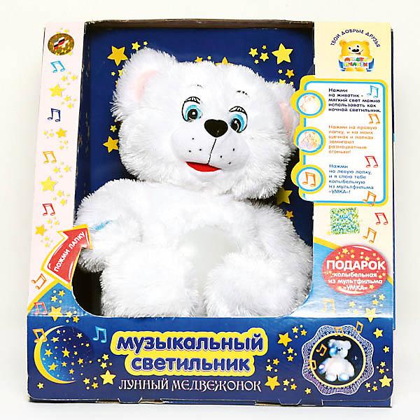 Мягкая игрушка-cветильник Лунный мишка, 38 см, со звуком, МУЛЬТИ-ПУЛЬТИМягкие игрушки из мультфильмов<br>Мягкая игрушка-cсветильник Лунный мишка со звуком от марки МУЛЬТИ-ПУЛЬТИ<br><br>Мягкая игрушка от отечественного производителя одновременно является ночником для малыша. Она поможет ребенку проводить время весело и с пользой, а также засыпать в комфортной атмосфере. В игрушке есть встроенный звуковой модуль, который позволяет ей петь колыбельную из мультфильма про Умку. Также мишка может мягко светиться.<br>Размер игрушки очень удобный - 21 сантиметров, её удобно брать с собой в поездки и на прогулку. Сделан медведь из качественных и безопасных для ребенка материалов, которые еще и приятны на ощупь. <br><br>Отличительные особенности игрушки:<br><br>- материал: текстиль, пластик;<br>- звуковой модуль;<br>- язык: русский;<br>- поет колыбельную;<br>- работает на батарейках;<br>- высота: 38 см.<br><br>Мягкую игрушку-cсветильник Лунный мишка от марки МУЛЬТИ-ПУЛЬТИ можно купить в нашем магазине.<br><br>Ширина мм: 220<br>Глубина мм: 320<br>Высота мм: 320<br>Вес г: 1000<br>Возраст от месяцев: 36<br>Возраст до месяцев: 60<br>Пол: Унисекс<br>Возраст: Детский<br>SKU: 2326216