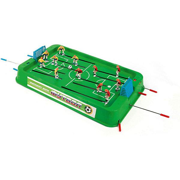 Игра настольная Футбол, Играем вместеСпортивные настольные игры<br>Настольная игра Футбол.<br><br>Настольная игра Футбол станет отличным подарком не только ребенку, но и взрослому, любящему спортивные игры. Игра состоит из игрового поля с воротами, на котором располагаются две футбольные команды по шесть игроков в каждой. Игровое поле обрамлено барьером и может устанавливаться на специальные ножки. Игроки с помощью рукояток управляют фигурками футболистов, установленными на стержнях, стремясь забить мяч в ворота противника. <br>Игра вырабатывает быстроту реакции, меткость и точность движений и предназначена для игры в домашних, школьных и клубных условиях.<br><br>Дополнительная информация:<br><br>Материал: пластик, металл. <br>Размер игрового поля (без ножек): 45 x 27 x 6 см. <br>Высота фигурки: 4 см. <br>Размер упаковки: 54 х 29 х 6 см.<br><br>Ширина мм: 60<br>Глубина мм: 540<br>Высота мм: 290<br>Вес г: 1080<br>Возраст от месяцев: 36<br>Возраст до месяцев: 144<br>Пол: Мужской<br>Возраст: Детский<br>SKU: 2326239