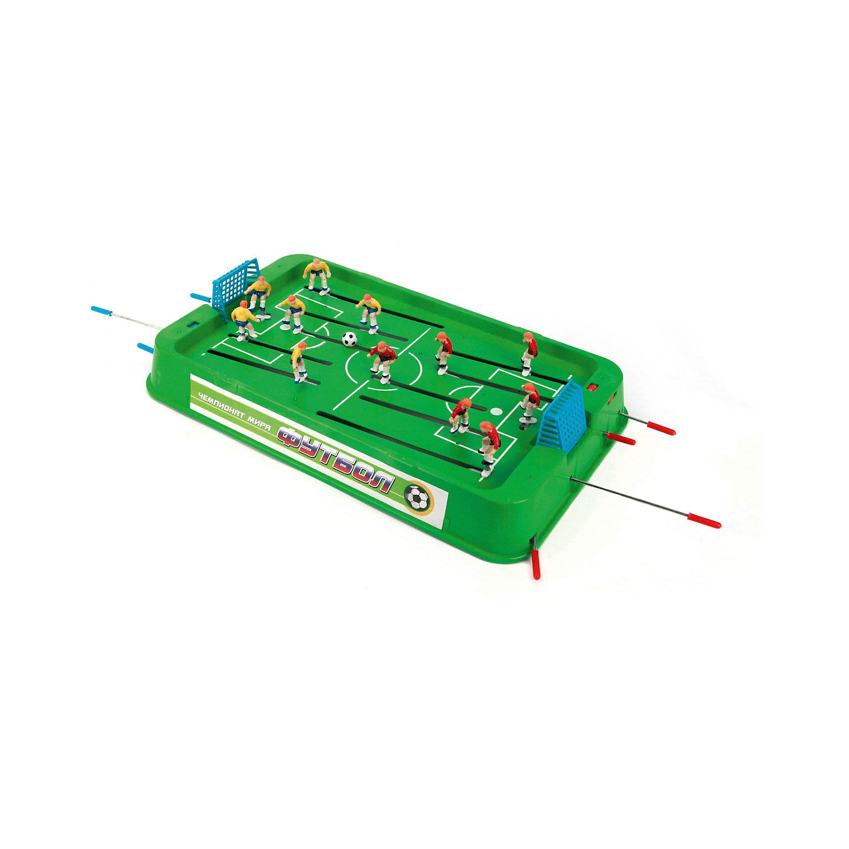 Игра настольная Футбол, Играем вместеНастольная игра Футбол.<br><br>Настольная игра Футбол станет отличным подарком не только ребенку, но и взрослому, любящему спортивные игры. Игра состоит из игрового поля с воротами, на котором располагаются две футбольные команды по шесть игроков в каждой. Игровое поле обрамлено барьером и может устанавливаться на специальные ножки. Игроки с помощью рукояток управляют фигурками футболистов, установленными на стержнях, стремясь забить мяч в ворота противника. <br>Игра вырабатывает быстроту реакции, меткость и точность движений и предназначена для игры в домашних, школьных и клубных условиях.<br><br>Дополнительная информация:<br><br>Материал: пластик, металл. <br>Размер игрового поля (без ножек): 45 x 27 x 6 см. <br>Высота фигурки: 4 см. <br>Размер упаковки: 54 х 29 х 6 см.<br><br>Ширина мм: 60<br>Глубина мм: 540<br>Высота мм: 290<br>Вес г: 1080<br>Возраст от месяцев: 36<br>Возраст до месяцев: 144<br>Пол: Мужской<br>Возраст: Детский<br>SKU: 2326239