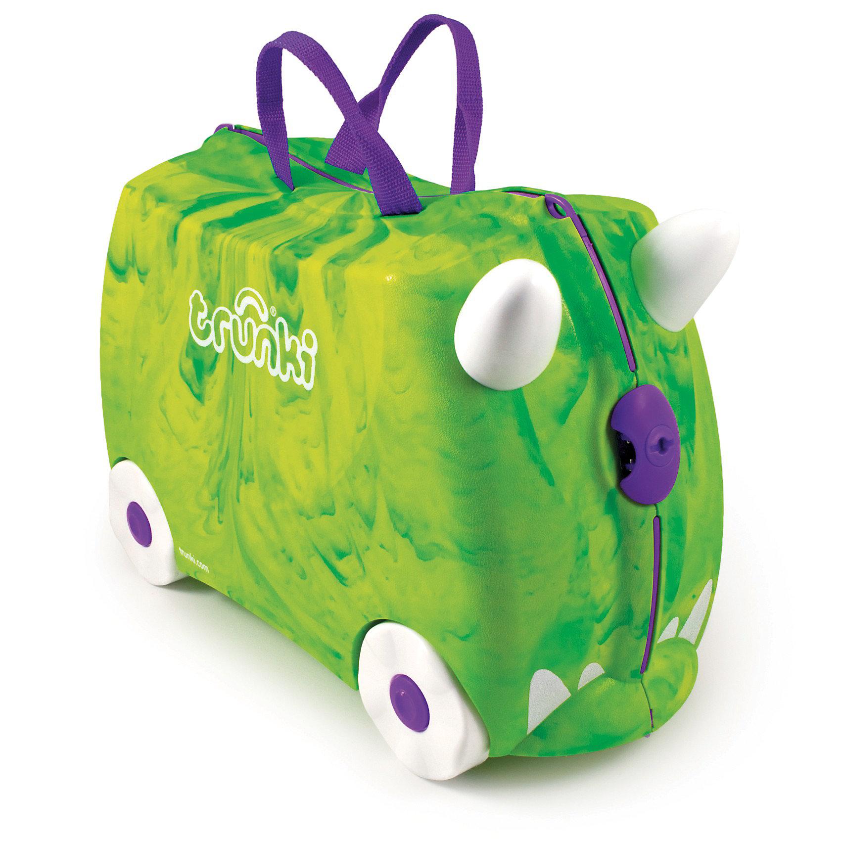 Чемодан на колесиках Динозавр зеленыйДорожные сумки и чемоданы<br>Вместительный, удобный чемодан Динозавр зеленый - замечательный вариант для маленьких путешественников. Оригинальный чемодан выполнен из прочного пластика в виде забавного зеленого динозаврика с рожками и сиреневым носиком-замком. Размеры позволяют брать его в самолет как ручную кладь. Чемоданчик может использоваться как детский стульчик и как оригинальное средство передвижения. Благодаря надежным колесикам, удобной конструкции седла и стабилизаторам малыш ездит на чемодане как на каталке, отталкиваясь ножками и держась за рожки динозаврика. <br><br>Чемодан оснащен удобными ручками для переноски и надежным замком с ключиком. С помощью ручного буксировочного ремня динозаврика можно везти по полу или нести на плече. Внутри просторное двустворчатое отделение для одежды и дорожных принадлежностей с ремнями для фиксации одежды, а также потайные секретные отсеки для мелочей. Все детали выполнены из экологически чистых, безопасных для детского здоровья материалов. Собственный чемодан для путешествий позволит ребенку почувствовать себя взрослым и самостоятельным.<br><br>Дополнительная информация:<br><br>- Материал: высококачественный пластик.<br>- Объем: 18 л.<br>- Максимальная нагрузка: 45 кг.<br>- Кол-во колес: 4 колеса.<br>- Размер чемодана: 46 х 20,5 х 31 см.<br>- Вес: 1,7 кг.<br><br>Чемодан на колесиках Динозавр зеленый, Trunki, можно купить в нашем интернет-магазине.<br><br>Ширина мм: 455<br>Глубина мм: 319<br>Высота мм: 224<br>Вес г: 1618<br>Возраст от месяцев: 72<br>Возраст до месяцев: 72<br>Пол: Унисекс<br>Возраст: Детский<br>SKU: 2326789