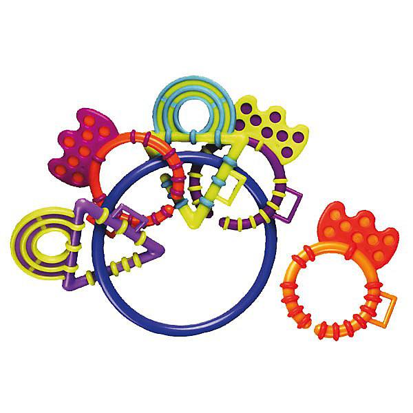 Погремушка-прорезыватель PlaygroИгрушки для новорожденных<br>Погремушка-прорезыватель Playgro (Плейгро) - незаменимая игрушка во время прорезывания зубов Вашего ребенка!<br><br>5 разноцветных фигурных прорезывателей для зубов из мягкого безопасного пластика закреплены на большом пластиковом кольце. Все прорезыватели легко отсоединяются от кольца и могут быть использованы по отдельности. Также колечки можно соединить в одну цепочку. Прорезыватели звенят на кольце, если потрясти.<br><br>Погремушка превосходна для маленьких рук!<br><br>Погремушку-прорезыватель Playgro можно купить в нашем интернет-магазине.<br>Ширина мм: 280; Глубина мм: 490; Высота мм: 360; Вес г: 51; Возраст от месяцев: 0; Возраст до месяцев: 12; Пол: Унисекс; Возраст: Детский; SKU: 2327583;