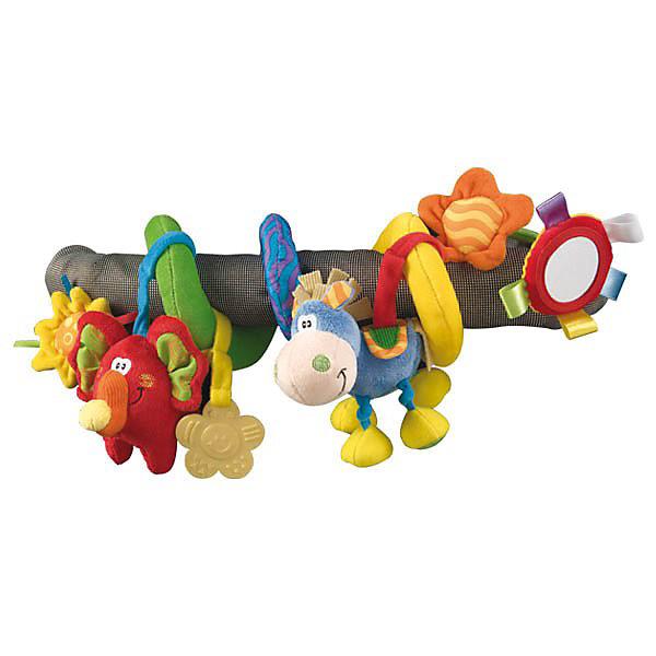 Мягкая игрушка-подвеска Toy box, PlaygroИгрушки для новорожденных<br>Мягкая игрушка-подвеска Toy box Playgro (Плейгро) подарит ребенку много приятных эмоций и новых впечатлений.<br>Яркая игрушка-подвеска не даст скучать Вашему малышу. Игрушка позволяет развивать зрительную и двигательную координацию ребенка, хватательный рефлекс, слух. Подвеска изготовлена из мягкой, приятной на ощупь ткани ярких цветов и разных фактур, что помогает в развитии осязательного и зрительного восприятия. На текстильной ленте закреплены игрушки-подвески: слоник-пищалка, ослик-погремушка, прорезыватель в форме цветка, безопасное зеркало. Игрушку легко закрепить на коляске или кроватке, просто обернув ее вокруг перекладины. Игрушка выполнена из экологически чистых материалов с соблюдением самых высоких стандартов безопасности.<br><br>Дополнительная информация:<br><br>- Материал: хлопчатобумажная ткань с мягким наполнителем<br>- Размер: 40 см.<br><br>Мягкую игрушку-подвеску Toy box Playgro (Плейгро) можно купить в нашем интернет-магазине.<br><br>Ширина мм: 240<br>Глубина мм: 80<br>Высота мм: 30<br>Вес г: 68<br>Возраст от месяцев: 0<br>Возраст до месяцев: 24<br>Пол: Унисекс<br>Возраст: Детский<br>SKU: 2327584