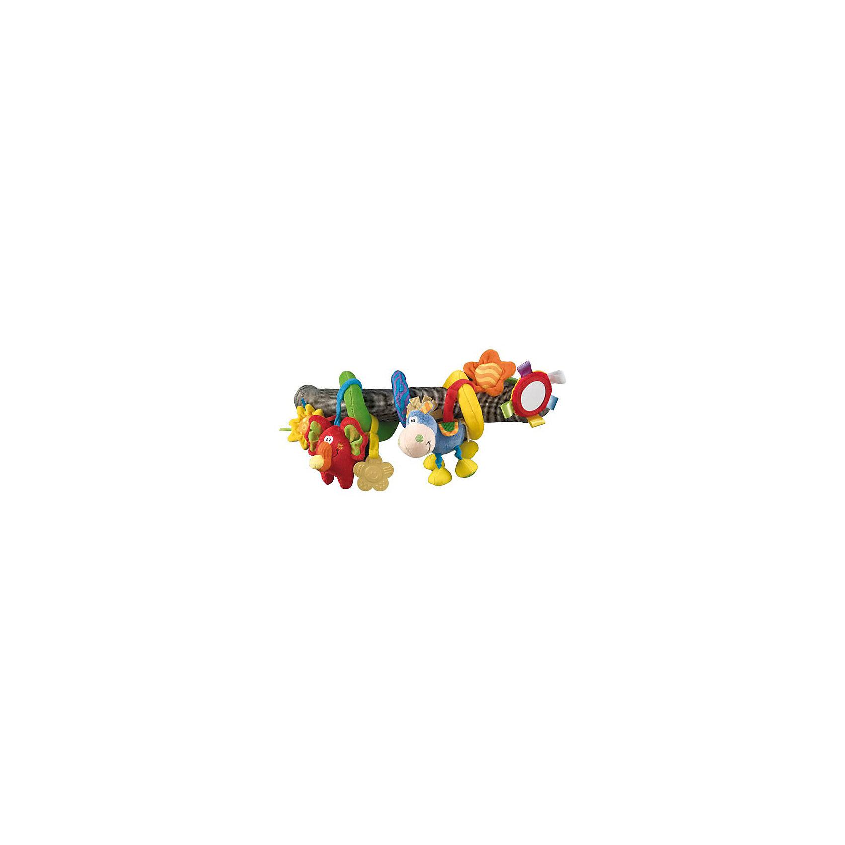 Мягкая игрушка-подвеска Toy box, PlaygroДуги и растяжки<br>Мягкая игрушка-подвеска Toy box Playgro (Плейгро) подарит ребенку много приятных эмоций и новых впечатлений.<br>Яркая игрушка-подвеска не даст скучать Вашему малышу. Игрушка позволяет развивать зрительную и двигательную координацию ребенка, хватательный рефлекс, слух. Подвеска изготовлена из мягкой, приятной на ощупь ткани ярких цветов и разных фактур, что помогает в развитии осязательного и зрительного восприятия. На текстильной ленте закреплены игрушки-подвески: слоник-пищалка, ослик-погремушка, прорезыватель в форме цветка, безопасное зеркало. Игрушку легко закрепить на коляске или кроватке, просто обернув ее вокруг перекладины. Игрушка выполнена из экологически чистых материалов с соблюдением самых высоких стандартов безопасности.<br><br>Дополнительная информация:<br><br>- Материал: хлопчатобумажная ткань с мягким наполнителем<br>- Размер: 40 см.<br><br>Мягкую игрушку-подвеску Toy box Playgro (Плейгро) можно купить в нашем интернет-магазине.<br><br>Ширина мм: 240<br>Глубина мм: 80<br>Высота мм: 30<br>Вес г: 68<br>Возраст от месяцев: 0<br>Возраст до месяцев: 24<br>Пол: Унисекс<br>Возраст: Детский<br>SKU: 2327584