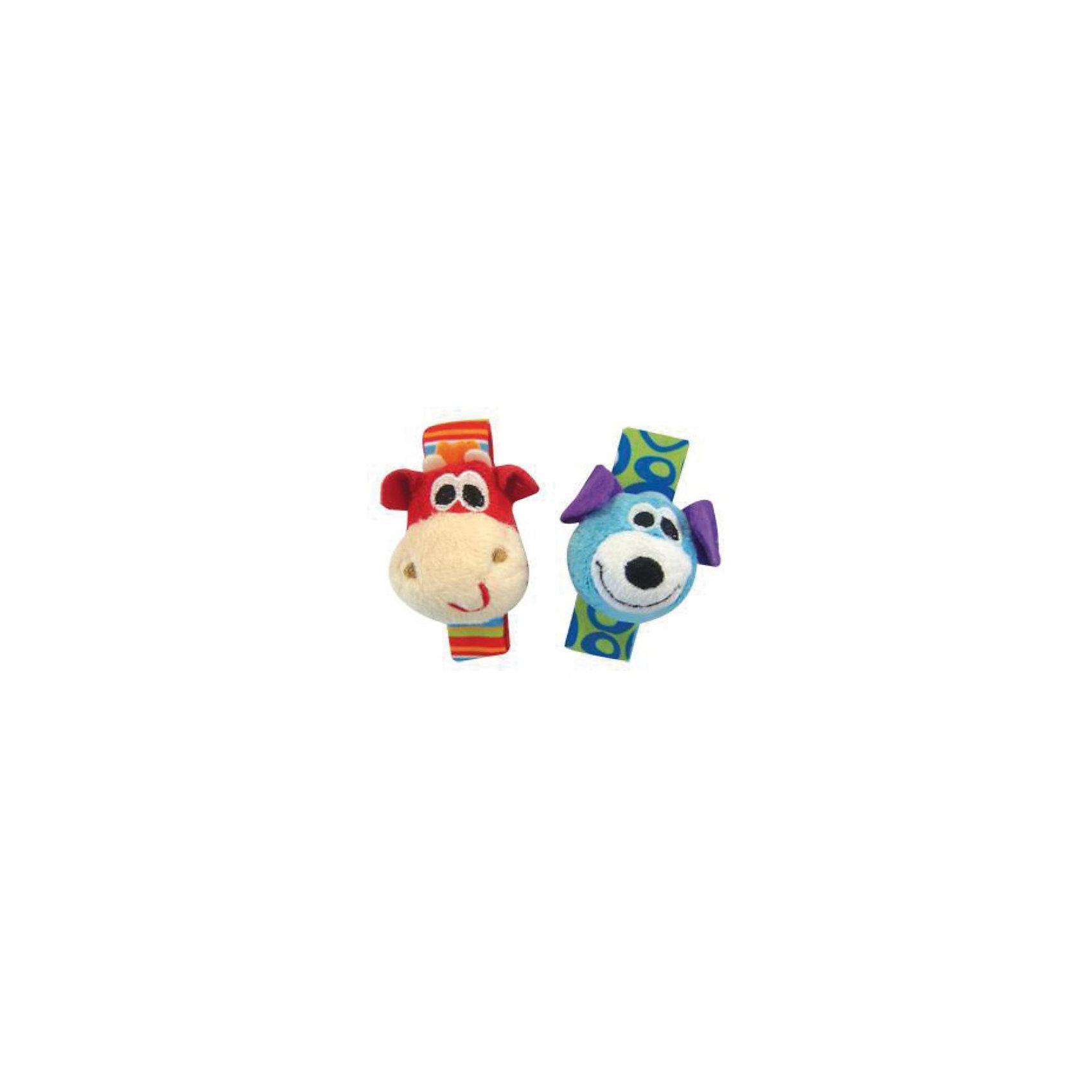 Мягкая игрушка-погремушка на ручку, Playgro, 2 шт.Мягкая игрушка-погремушка на ручку, Playgro (Плейгро) привлечет внимание Вашего малыша, ее легко и удобно застегнуть на ручке крохи!<br>Два очаровательных персонажа: жираф и собачка выполнены из ткани разной фактуры. Игрушка, с помощью мягкой застежки липучки крепится на запястье малыша, а также на манеж, коляску или кроватку. Внутри каждой игрушки прячется погремушка, чтобы услышать звук, достаточно просто двинуть ручкой. Негромкий звук стимулирует развитие слуха, а разнообразность материалов способствует расширению тактильных ощущений малыша. Ребенок самостоятельно начинает контролировать движения рука - глаз ориентируясь по звуку игрушки. Яркие цвета игрушки улучшают развитие зрения.<br><br>Дополнительная информация:<br><br>- В комплекте две игрушки<br>- Материал: текстиль<br>- Размер браслета: 13х7х5 см.<br>- Вес: 40 грамм<br>- Не вызывает аллергических реакций<br>- Эластичный ремешок с удобной застежкой<br><br>Мягкую игрушку Playgro (Плейгро) можно купить в нашем интернет-магазине.<br><br>Ширина мм: 180<br>Глубина мм: 190<br>Высота мм: 270<br>Вес г: 48<br>Возраст от месяцев: 0<br>Возраст до месяцев: 12<br>Пол: Унисекс<br>Возраст: Детский<br>SKU: 2327588