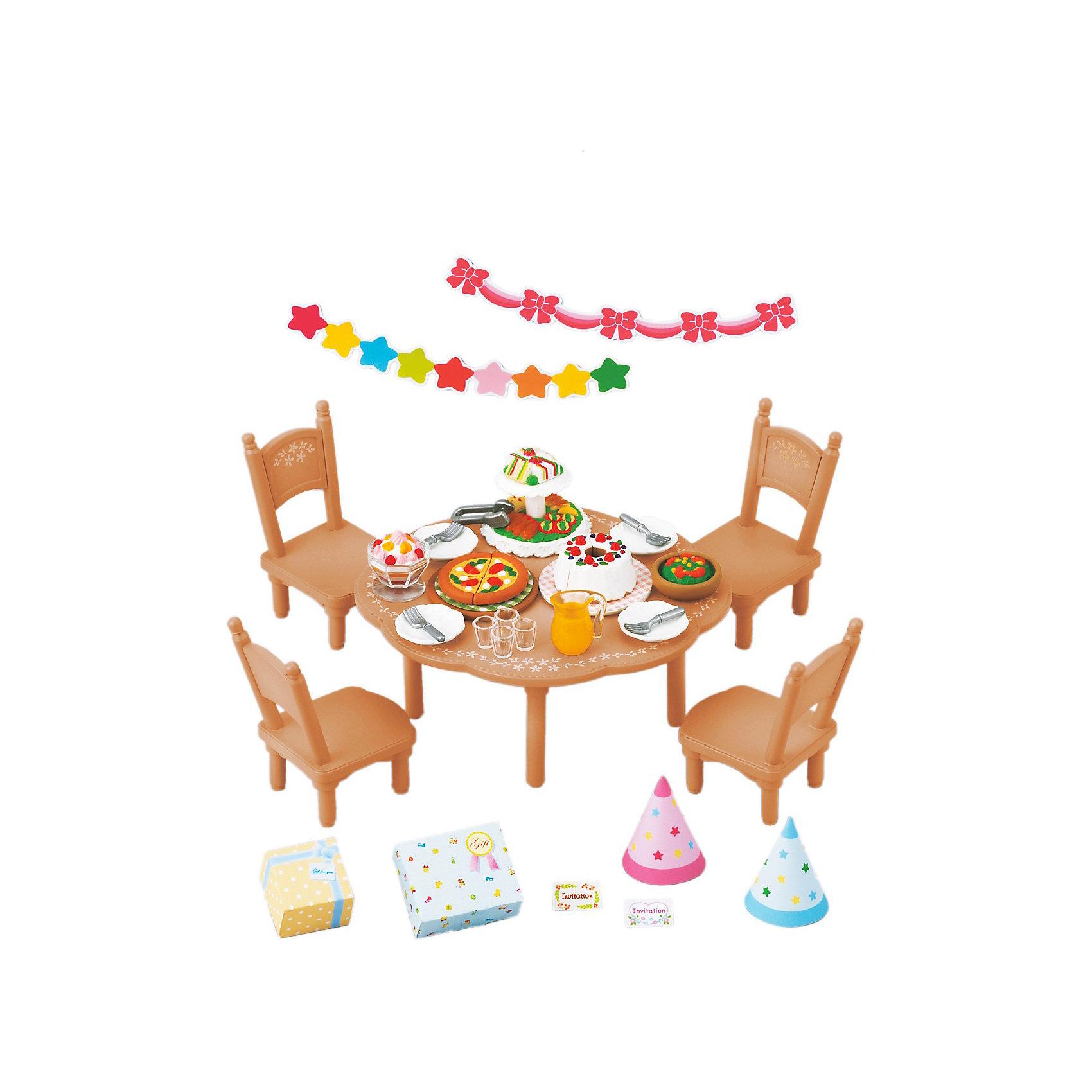Набор Вечеринка Sylvanian FamiliesSylvanian Families<br>Набор для вечеринки от Sylvanian Families (Сильваниан Фэмилиес). <br><br>Жители Сильвании с радостью празднуют дни рождения! Все малыши ждут этого праздника, ведь день рождения - это не только вкусный торт, но и весёлая вечеринка. Все гости обязательно приходят с подарками, комната, где происходит вечеринка, празднично украшена. За столом все сидят в весёлых колпачках и кушают вкусные пироги, которые готовит мама. На вечеринках в Сильвании так весело!<br><br>Дополнительная информация:<br><br>В комплекте: <br>- круглый стол и стулья<br>- украшения <br>- посуда <br>- угощения <br>- колпаки <br>- подарки<br><br>Персонажи в комплект не входят.<br>Размер коробки: 13 х 6 х 12  см.<br>Материал: высококачественная пластмасса, текстиль, пвх с полимерным напылением.<br><br>Ширина мм: 129<br>Глубина мм: 124<br>Высота мм: 66<br>Вес г: 146<br>Возраст от месяцев: 36<br>Возраст до месяцев: 72<br>Пол: Женский<br>Возраст: Детский<br>SKU: 2328096