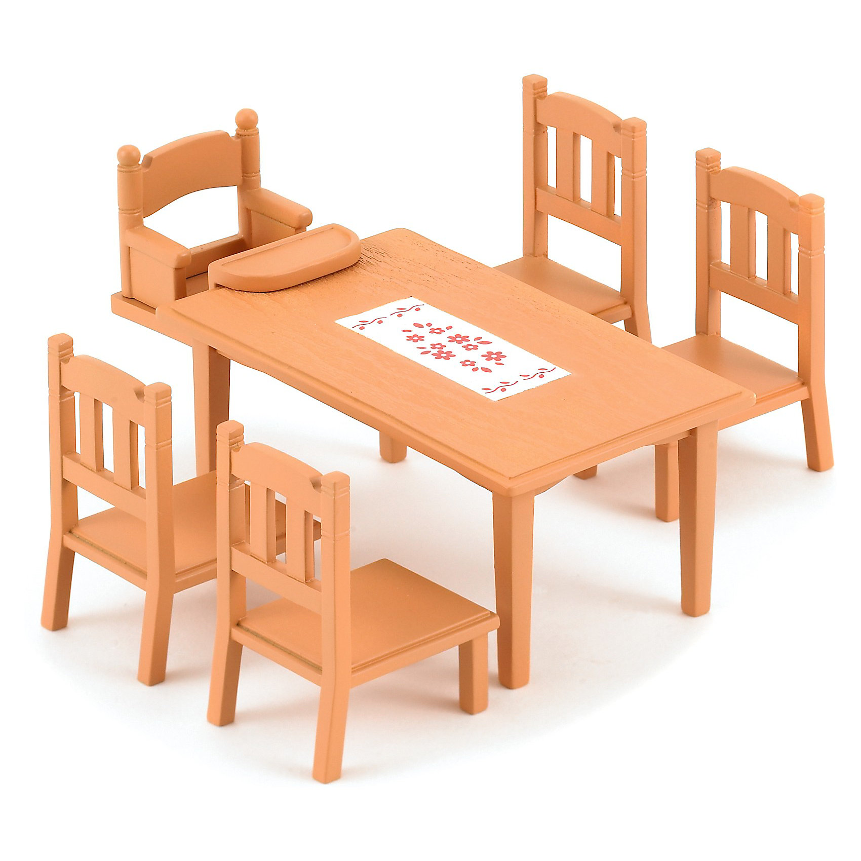 Набор Обеденный стол с 5 стульями Sylvanian FamiliesSylvanian Families<br>Обеденный стол и стулья от Sylvanian Families. <br><br>Sylvanian Families – это удивительный мир, в котором сказочные животные живут настоящими семьями. В этом мире существуют не только взрослые персонажи, но и детишки разного возраста, а также бабушки и дедушки. Их мир наполнен гармонией и заботой друг о друге. <br><br>Семьи Сильвании любят собираться за большим обеденным столом. За ним помещается вся семья - есть даже специальный стул для малыша, который крепится к столу. Стол выполнен из светло-коричневого дерева, на поверхности есть рисунок в виде красных цветов на белом фоне. Такой набор дополнит любой дом в Сильвании.<br><br>Дополнительная информация:<br><br>В комплекте:<br>- стол (11 х 5 х 6,5 см);<br>- 4 стула (3,5 х 6,5 х 3,5 см);<br>- маленький стул (3,5 х 3,5 х 3,5 см).<br><br>Размер коробки: 13 х 5 х 10 см.<br>Материал: пластмасса.<br><br>Этот набор обязательно порадует Вашего ребёнка, ведь теперь он сможет разыгрывать сценки из собственной жизни! Набор также способствует развитию фантазии и навыков общения.<br><br>Ширина мм: 123<br>Глубина мм: 126<br>Высота мм: 53<br>Вес г: 104<br>Возраст от месяцев: 36<br>Возраст до месяцев: 72<br>Пол: Женский<br>Возраст: Детский<br>SKU: 2328097