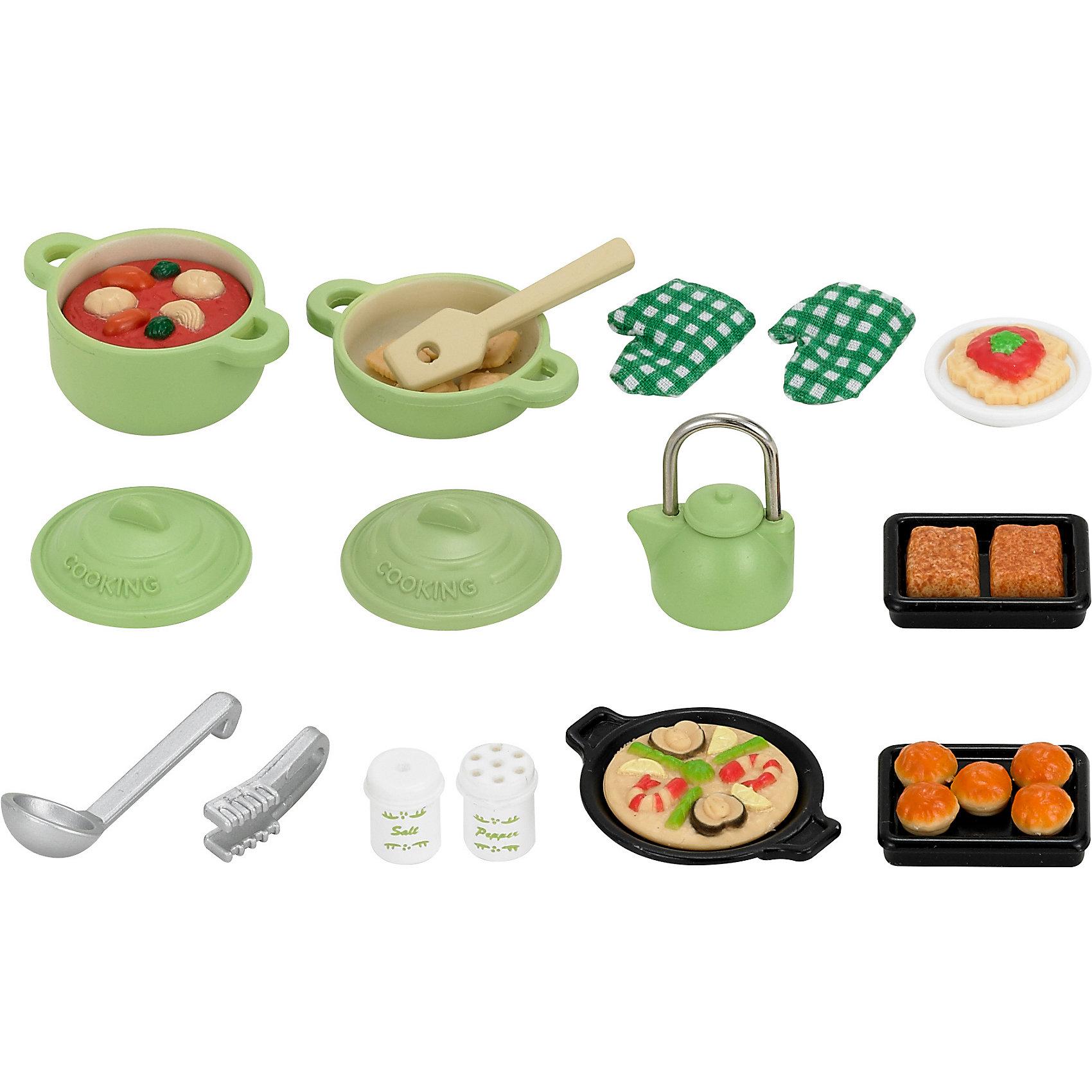 Набор Большой обед Sylvanian FamiliesНабор Большой обед Sylvanian Families (Сильваниан Фэмилиес)  включает игрушечную посуду, продукты и кухонные принадлежности  для приготовления еды.<br><br>В комплекте:<br>- кастрюля с крышкой, в которой готовится рагу 3x4x2 см;<br>- маленькая кастрюля с крышкой 3x4x1 см;<br>- чайник с крышкой;<br>- 2 противня;<br>- 2 прихватки;<br>- шипцы;<br>- черпак;<br>- лопатка;<br>- блюдо с пиццей;<br>- тарелка с едой;<br>- солонка, перечница;<br>- 5 кексов;<br>- 6 крекеров;<br>- 2 пирожка.<br><br>Материал: высококачественная пластмасса<br>Размеры: 13 * 3 * 14 см.<br><br>Ширина мм: 144<br>Глубина мм: 131<br>Высота мм: 32<br>Вес г: 87<br>Возраст от месяцев: 36<br>Возраст до месяцев: 72<br>Пол: Женский<br>Возраст: Детский<br>SKU: 2328099