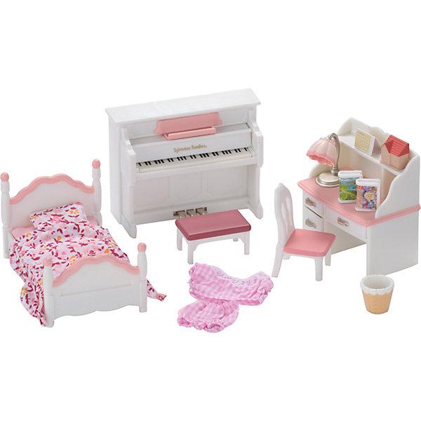 Набор Детская комната Sylvanian FalimiesSylvanian Families<br>Набор Детская комната от Sylvanian Families (Сильваниан Фалимиес) - это прекрасный комплект игрушечной мебели. В него входят:  кроватка со спинками, постельное белье и стулья. Поскольку герои ходят в школу, в наборе есть все необходимое: письменный стол с лампой и выдвижными ящичками, ведро для бумажного мусора.  А еще маленькие зверушки учатся в  музыкальной  школе, поэтому у них обязательно должно быть пианино с нотами.<br><br>В наборе:<br>-фортепиано (9?7,5?2,5 см) <br>-кровать (9,5?6?4,5 см) <br>-стол (7?7?4 см) <br>-стул <br>-корзина <br>-столик <br>-ночник <br>-2 книги <br>-фигурка-домик <br>-наклейки (календарь на стену, обложки для книг)<br> <br>Размер коробки: 21 * 17 * 11 см.<br><br>Этот набор позволит вашему малышу развить навыки сюжетно-ролевой игры, разовьет фантазию.<br>Ширина мм: 216; Глубина мм: 175; Высота мм: 116; Вес г: 308; Возраст от месяцев: 36; Возраст до месяцев: 72; Пол: Женский; Возраст: Детский; SKU: 2328101;