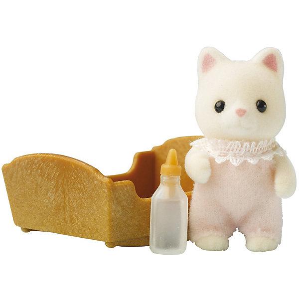 Набор Малыш котёнок Sylvanian FamiliesSylvanian Families<br>Малыш Котенок Sylvanian Families (Сильваниан Фалимиес) - сладкая малышка, о которой так и хочется позаботиться! Она одета в светло-розовый комбинезончик с кружевами и любит спать в своей колыбельке, особенно зимой. Малышку нужно покормить из бутылочки и уложить спать в уютную кроватку.  <br>Голова малышки с черными глазками-бусинками поворачивается, а лапки двигаются.<br><br>В комплекте:<br>- Малыш Котенок высотой 3,5 см<br>- колыбелька<br>- бутылочка <br>Дополнительная информация:<br>Размер коробки: 8 х 4 х 10 см.<br><br> Материал: высококачественная пластмасса, ПВХ с полимерным напылением, текстиль. <br><br>Ваш ребенок будет в восторге от этого малыша!<br><br>Ширина мм: 119<br>Глубина мм: 75<br>Высота мм: 36<br>Вес г: 34<br>Возраст от месяцев: 36<br>Возраст до месяцев: 72<br>Пол: Женский<br>Возраст: Детский<br>SKU: 2328123
