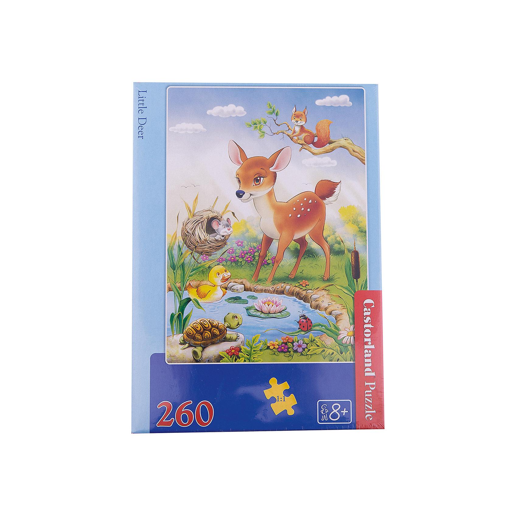 Пазл Бемби, 260 деталей, CastorlandКлассические пазлы<br>Пазл Бемби, 260 деталей, Castorland (Касторленд).<br><br>Дополнительная информация:<br><br>- Изображение: Олененок Бемби<br>- Количество деталей: 260<br>- Материал: плотный картон<br>- Размер собранного пазла:  320x230 мм<br>- Размер коробки: 275x190x37 мм <br>- Вес: 300 г.<br><br>Пазл Бемби, 260 деталей, Castorland (Касторленд) можно купить в нашем интернет-магазине.<br><br>Ширина мм: 180<br>Глубина мм: 130<br>Высота мм: 40<br>Вес г: 300<br>Возраст от месяцев: 60<br>Возраст до месяцев: 168<br>Пол: Унисекс<br>Возраст: Детский<br>Количество деталей: 260<br>SKU: 2328180