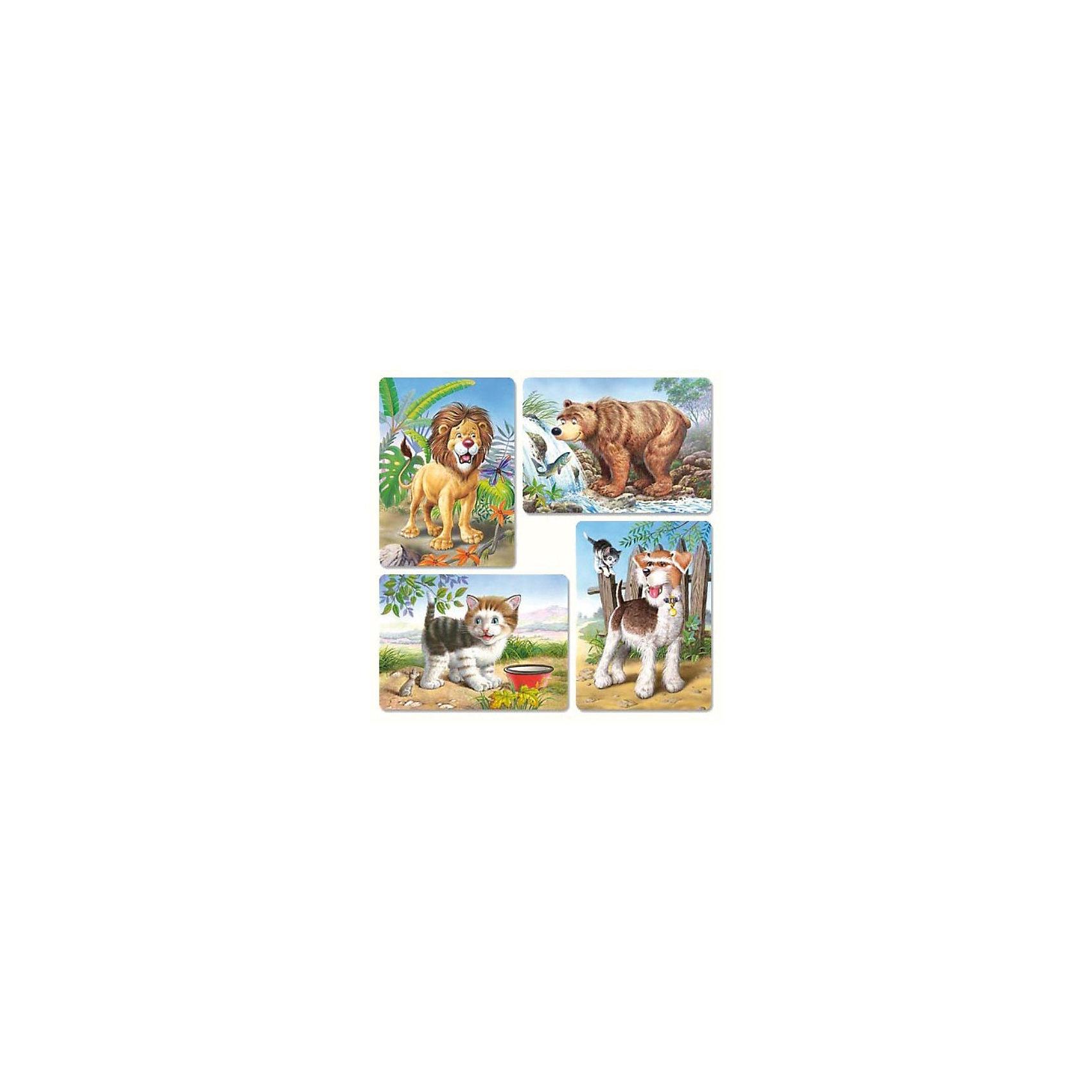 Набор пазлов Звери, 8*12*15*20 деталей, CastorlandПазлы для малышей<br>Пазлы с изображениями медведя, льва, собаки и котика.<br><br>В комплекте 4 пазла, которые состоят из разного количества деталей:<br><br>- 8 деталей;<br>- 12 деталей;<br>- 15 деталей;<br>- 20 деталей.<br><br>Дополнительная информация:<br><br>Размер собранного пазла: 32 x 23 см.<br>Размер упаковки (д/ш/в): 27,5 x 22 x 47 см.<br>Материал: картон.<br><br>Ширина мм: 273<br>Глубина мм: 186<br>Высота мм: 40<br>Вес г: 400<br>Возраст от месяцев: 12<br>Возраст до месяцев: 60<br>Пол: Унисекс<br>Возраст: Детский<br>Количество деталей: 8<br>SKU: 2328216