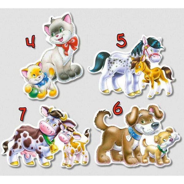 Контурные пазлы Домашние животные, 4*5*6*7 деталей, CastorlandПазлы для малышей<br>Изображение: Домашние животные. <br><br>Дополнительная информация:<br><br>- Количество: 4 пазла в наборе (4-5-6-7 деталей соответственно)<br>- Материал - картон<br>- Размер пазлов - 23 х 16,5 см<br>- Размер минимальной детали - 6 х 4 см<br>Ширина мм: 273; Глубина мм: 186; Высота мм: 40; Вес г: 400; Возраст от месяцев: 12; Возраст до месяцев: 60; Пол: Унисекс; Возраст: Детский; Количество деталей: 4; SKU: 2328224;