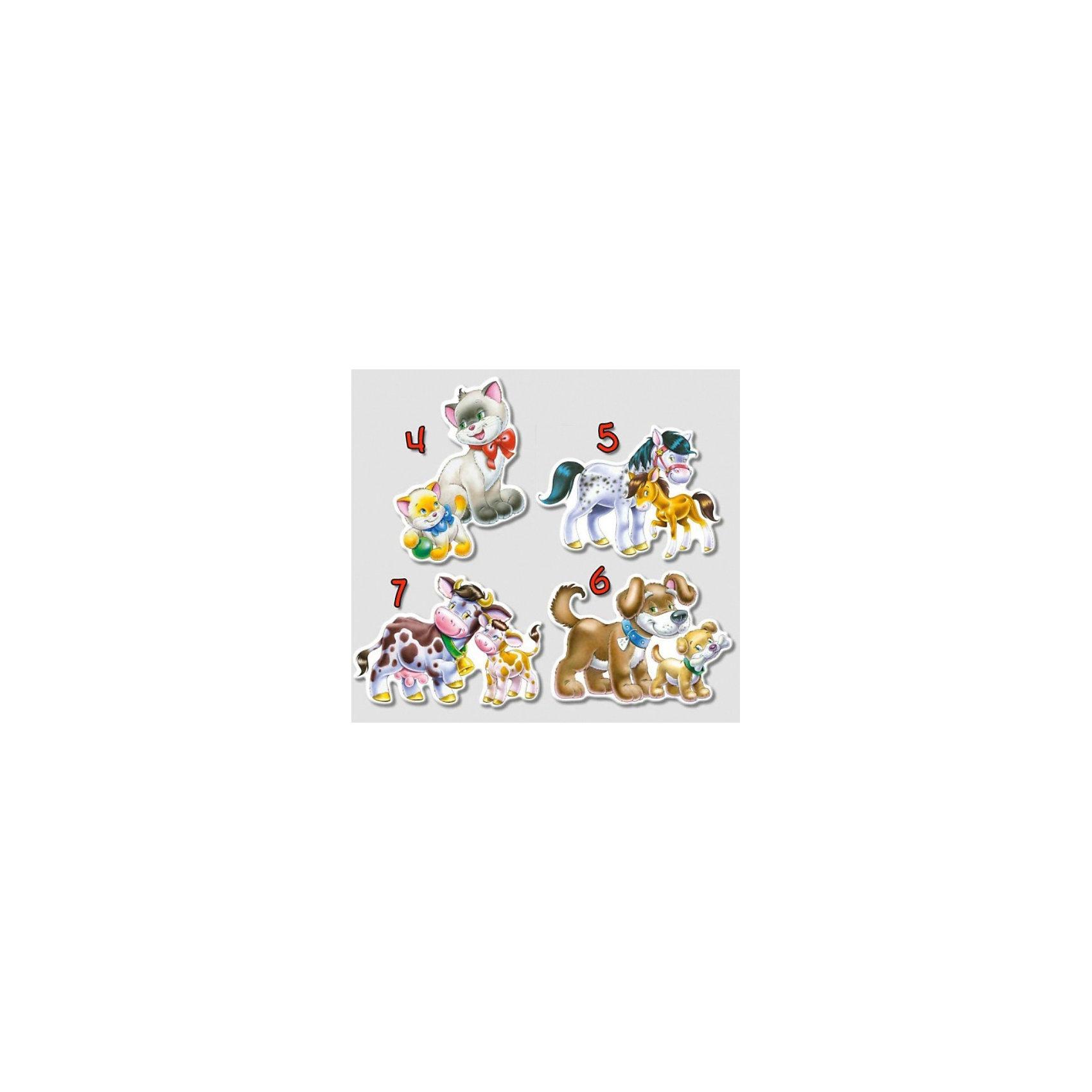 Контурные пазлы Домашние животные, 4*5*6*7 деталей, CastorlandПазлы для малышей<br>Изображение: Домашние животные. <br><br>Дополнительная информация:<br><br>- Количество: 4 пазла в наборе (4-5-6-7 деталей соответственно)<br>- Материал - картон<br>- Размер пазлов - 23 х 16,5 см<br>- Размер минимальной детали - 6 х 4 см<br><br>Ширина мм: 273<br>Глубина мм: 186<br>Высота мм: 40<br>Вес г: 400<br>Возраст от месяцев: 12<br>Возраст до месяцев: 60<br>Пол: Унисекс<br>Возраст: Детский<br>Количество деталей: 4<br>SKU: 2328224