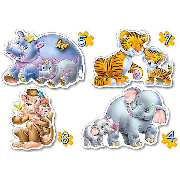 Контурные пазлы Дикие животные, 4*5*6*7 деталей, CastorlandПазлы для малышей<br>Контурные пазлы Дикие животные, 4*5*6*7 деталей, Castorland (Касторленд).<br><br>В наборе 4 картинки, выполненных в  виде диких зверей с детенышами. Каждая картинка состоит из разного количества деталей:<br>- Слоны: 4 детали<br>- Бегемотики: 5 деталей<br>- Обезьянки: 6 деталей<br>- Тигры: 7 деталей<br><br>Пазлы выполнены из плотного картона, детали красочные и крупные, легко собираются.<br><br>Дополнительная информация:<br><br>- Количество деталей: 4, 5, 6, 7<br>- Материал: плотный картон<br>- Размер собранной картинки:  230 х165 мм<br>- Размер коробки: 273 х 186 х 40 мм<br>- Вес: 400 г.<br><br>Контурные пазлы Дикие животные, 4*5*6*7 деталей, Castorland (Касторленд) можно купить в нашем интернет-магазине.<br>Ширина мм: 273; Глубина мм: 186; Высота мм: 40; Вес г: 400; Возраст от месяцев: 12; Возраст до месяцев: 60; Пол: Унисекс; Возраст: Детский; Количество деталей: 4; SKU: 2328227;