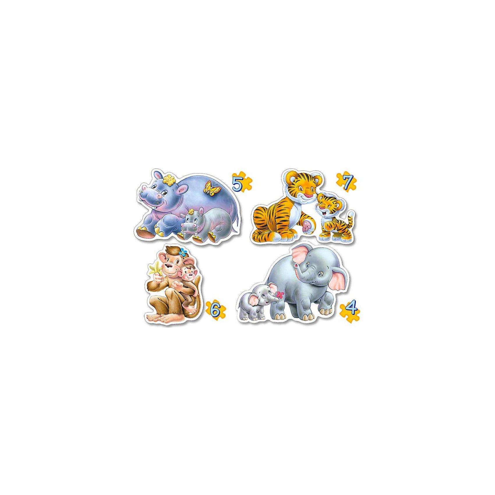 Контурные пазлы Дикие животные, 4*5*6*7 деталей, CastorlandПазлы для малышей<br>Контурные пазлы Дикие животные, 4*5*6*7 деталей, Castorland (Касторленд).<br><br>В наборе 4 картинки, выполненных в  виде диких зверей с детенышами. Каждая картинка состоит из разного количества деталей:<br>- Слоны: 4 детали<br>- Бегемотики: 5 деталей<br>- Обезьянки: 6 деталей<br>- Тигры: 7 деталей<br><br>Пазлы выполнены из плотного картона, детали красочные и крупные, легко собираются.<br><br>Дополнительная информация:<br><br>- Количество деталей: 4, 5, 6, 7<br>- Материал: плотный картон<br>- Размер собранной картинки:  230 х165 мм<br>- Размер коробки: 273 х 186 х 40 мм<br>- Вес: 400 г.<br><br>Контурные пазлы Дикие животные, 4*5*6*7 деталей, Castorland (Касторленд) можно купить в нашем интернет-магазине.<br><br>Ширина мм: 273<br>Глубина мм: 186<br>Высота мм: 40<br>Вес г: 400<br>Возраст от месяцев: 12<br>Возраст до месяцев: 60<br>Пол: Унисекс<br>Возраст: Детский<br>Количество деталей: 4<br>SKU: 2328227