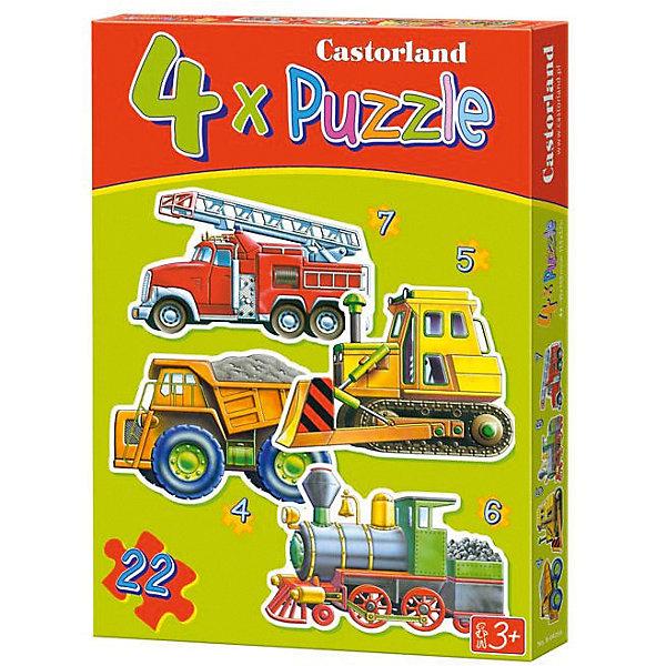 Пазл 4 в 1 Castorland Транспорт, 22 элементаПазлы для малышей<br>Контурные пазлы Транспорт, 4*5*6*7 деталей, Castorland (Касторленд).<br><br>Пазл для самых маленьких с изображением транспортных средств. <br><br>В наборе пазлы с изображением пожарной машины, самосвала, паровоза, экскаватора.<br><br>Пазлы развивают усидчивость и внимание, обязательно понравятся Вашему малышу.<br><br>Дополнительная информация:<br><br>- Каждый пазл состоит из разного количества деталей: самосвал  - 4 детали, паровоз - 6, экскаватор - 5, пожарная машина - 7.<br>- Материал: плотный картон<br>- Размер собранной картинки:  230 х165 мм<br>- Размер коробки: 273 х 186 х 37 мм<br>- Вес: 400 г.<br><br>Контурные пазлы Транспорт, 4*5*6*7 деталей, Castorland (Касторленд) можно купить в нашем интернет-магазине.<br><br>Ширина мм: 273<br>Глубина мм: 186<br>Высота мм: 40<br>Вес г: 400<br>Возраст от месяцев: 36<br>Возраст до месяцев: 2147483647<br>Пол: Мужской<br>Возраст: Детский<br>Количество деталей: 4<br>SKU: 2328228