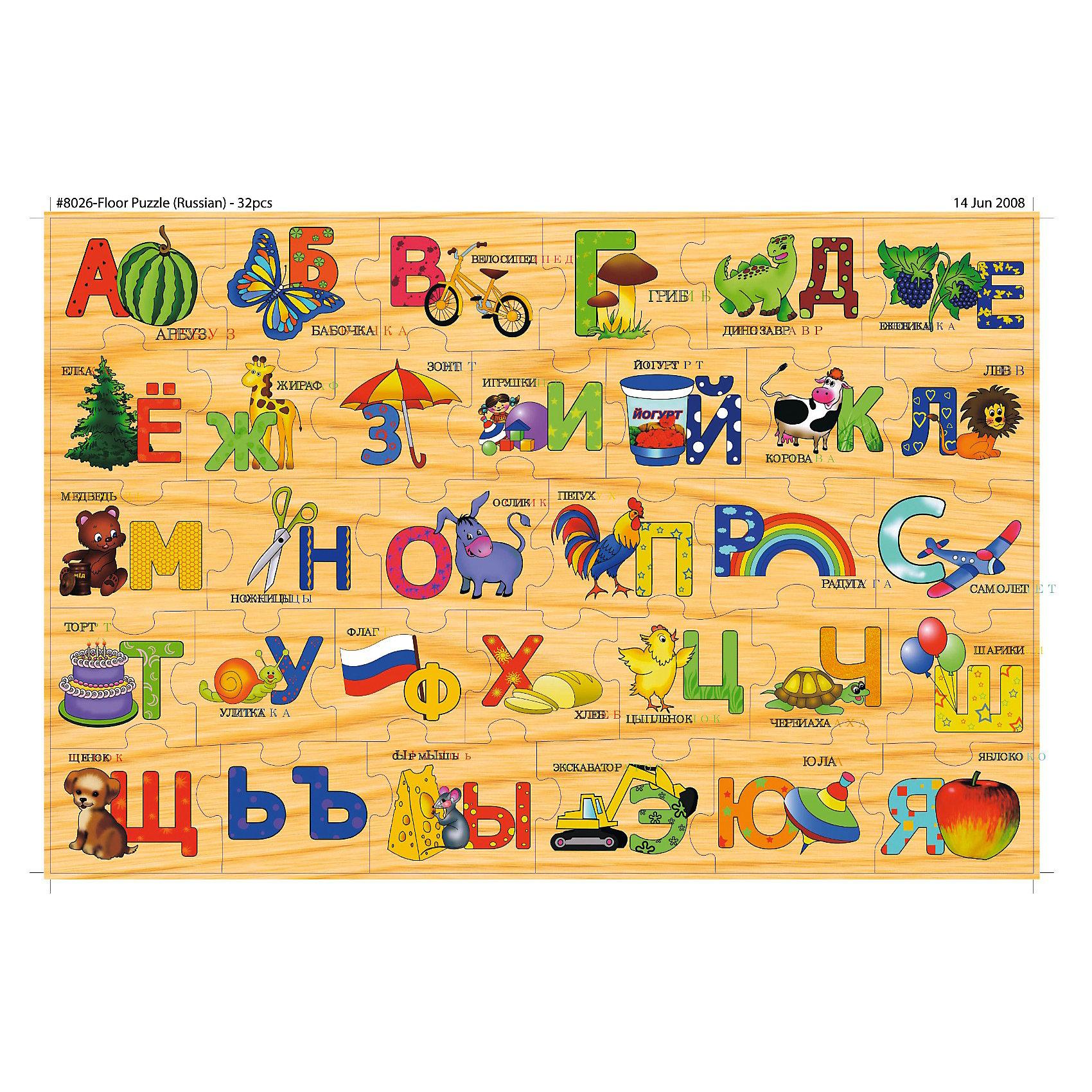 Алфавит, СТЕЛЛА+Напольная игра-пазл с изображением букв алфавита и соответствующими картинками. Пазл предназначен для изучения алфавита, развития внимания и логического мышления ребенка. 32 детали. Размер пазла в собранном виде 96х61см.<br><br>Ширина мм: 355<br>Глубина мм: 245<br>Высота мм: 65<br>Вес г: 1870<br>Возраст от месяцев: 36<br>Возраст до месяцев: 120<br>Пол: Унисекс<br>Возраст: Детский<br>SKU: 2328293