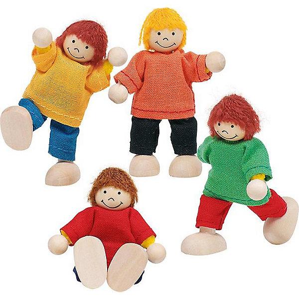 Куклы Ребятки, 4 в 1, gokiКуклы<br>Куклы Ребятки, 4 в 1, goki (Гоки).<br><br>Характеристика:<br><br>• Материал: дерево, краски, текстиль.  <br>• Размер кукол: 6 см.<br>• Комплектация: 4 фигурки.<br>• Игрушки и одежда прекрасно проработаны, выглядят реалистично. <br>• Волосы из шерстяных нитей. <br>• Голова, ножки и ручки изготовлена из дерева.<br>• Руки и ноги подвижные.<br>• Куклы могут сидеть и стоять.<br><br>Веселые и озорные куклы Ребятки приглашают малышей поиграть и пошалить вместе с ними! Игрушки выполнены из высококачественных материалов, раскрашены безопасными и нетоксичными красителями на водной основе. В наборе 4 куклы в ярких свитерах. Игрушки и детали одежды отлично проработаны, выглядят очень привлекательно и реалистично. <br><br>Кукол Ребятки, 4 в 1, goki (Гоки), можно купить в нашем интернет-магазине.<br>Ширина мм: 600; Глубина мм: 190; Высота мм: 130; Вес г: 370; Возраст от месяцев: 36; Возраст до месяцев: 72; Пол: Женский; Возраст: Детский; SKU: 2328645;