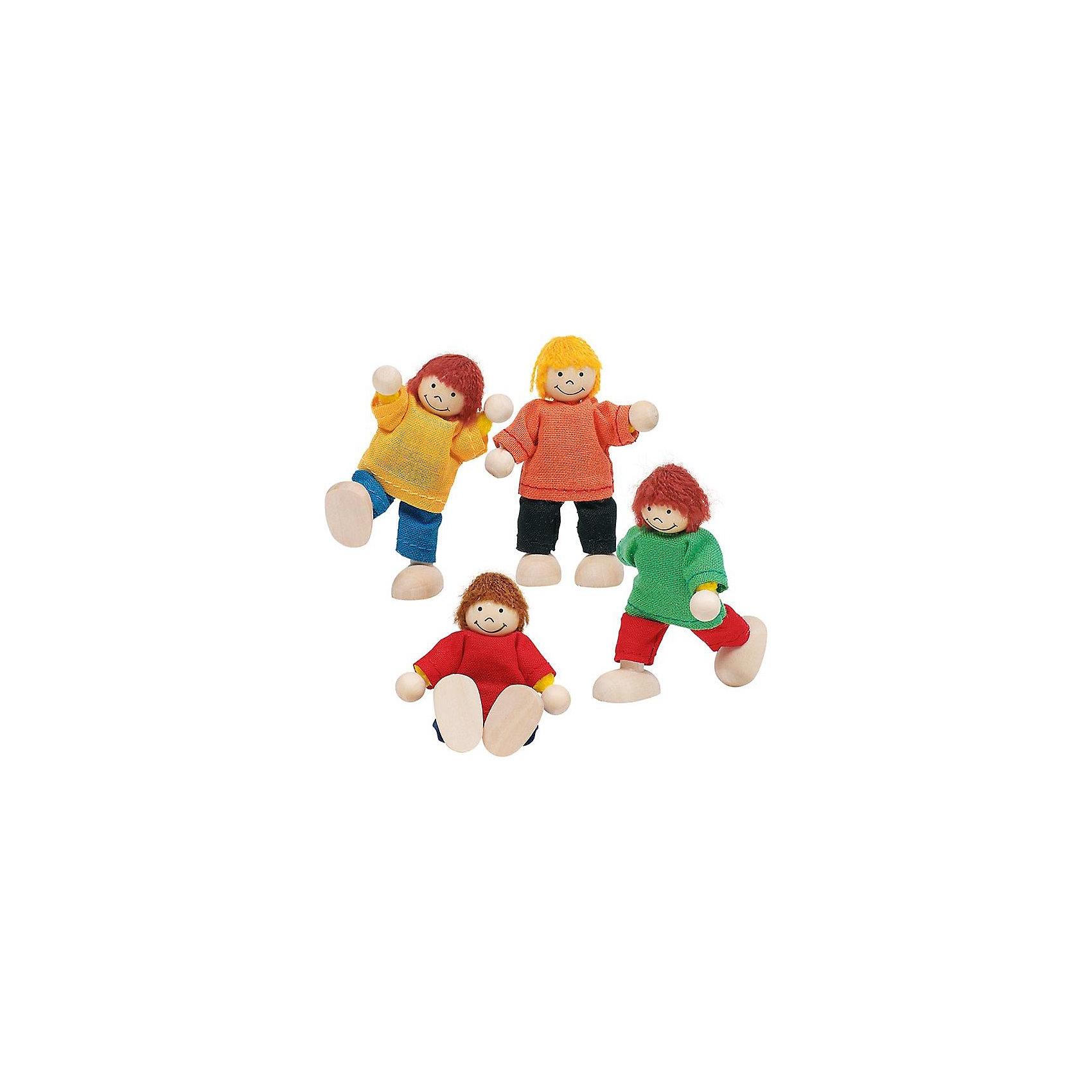 Куклы Ребятки, 4 в 1, gokiМини-куклы<br>Куклы Ребятки, 4 в 1, goki (Гоки).<br><br>Характеристика:<br><br>• Материал: дерево, краски, текстиль.  <br>• Размер кукол: 6 см.<br>• Комплектация: 4 фигурки.<br>• Игрушки и одежда прекрасно проработаны, выглядят реалистично. <br>• Волосы из шерстяных нитей. <br>• Голова, ножки и ручки изготовлена из дерева.<br>• Руки и ноги подвижные.<br>• Куклы могут сидеть и стоять.<br><br>Веселые и озорные куклы Ребятки приглашают малышей поиграть и пошалить вместе с ними! Игрушки выполнены из высококачественных материалов, раскрашены безопасными и нетоксичными красителями на водной основе. В наборе 4 куклы в ярких свитерах. Игрушки и детали одежды отлично проработаны, выглядят очень привлекательно и реалистично. <br><br>Кукол Ребятки, 4 в 1, goki (Гоки), можно купить в нашем интернет-магазине.<br><br>Ширина мм: 600<br>Глубина мм: 190<br>Высота мм: 130<br>Вес г: 370<br>Возраст от месяцев: 36<br>Возраст до месяцев: 72<br>Пол: Женский<br>Возраст: Детский<br>SKU: 2328645