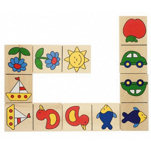 Домино Доменик (в деревянной коробке), gokiСпортивные настольные игры<br>Домино Доменик (в деревянной коробке), goki (гоки) – это детский аналог традиционной игры Домино.<br>Домино Доменик - прекрасный вариант для проведения семейного досуга! Оно состоит из 28 больших элементов домино с четкими, яркими и понятными маленькому ребенку картинками с изображениями яблока, машинки, солнышка, цветка, рыбы, утки и кораблика. Большие деревянные элементы идеально подходят для маленьких детей. Домино выполнено из качественной древесины. Игра развивает логику, внимание, память, учит сравнивать и сопоставлять предметы.<br><br>Дополнительная информация:<br><br>- В наборе: 28 элементов<br>- Количество игроков: от 2 до 4 человек<br>- Размер элемента: 5x10 см.<br>- Материал: древесина, стойкие безопасные краски на водной основе без вреда для здоровья<br>- Упаковка: деревянная коробка<br>- Размер упаковки: 12,5х22,8х5 см.<br>- Вес: 670 гр.<br><br>Домино Доменик (в деревянной коробке), goki (гоки) можно купить в нашем интернет-магазине.<br>Ширина мм: 125; Глубина мм: 228; Высота мм: 50; Вес г: 670; Возраст от месяцев: 24; Возраст до месяцев: 60; Пол: Унисекс; Возраст: Детский; SKU: 2328655;