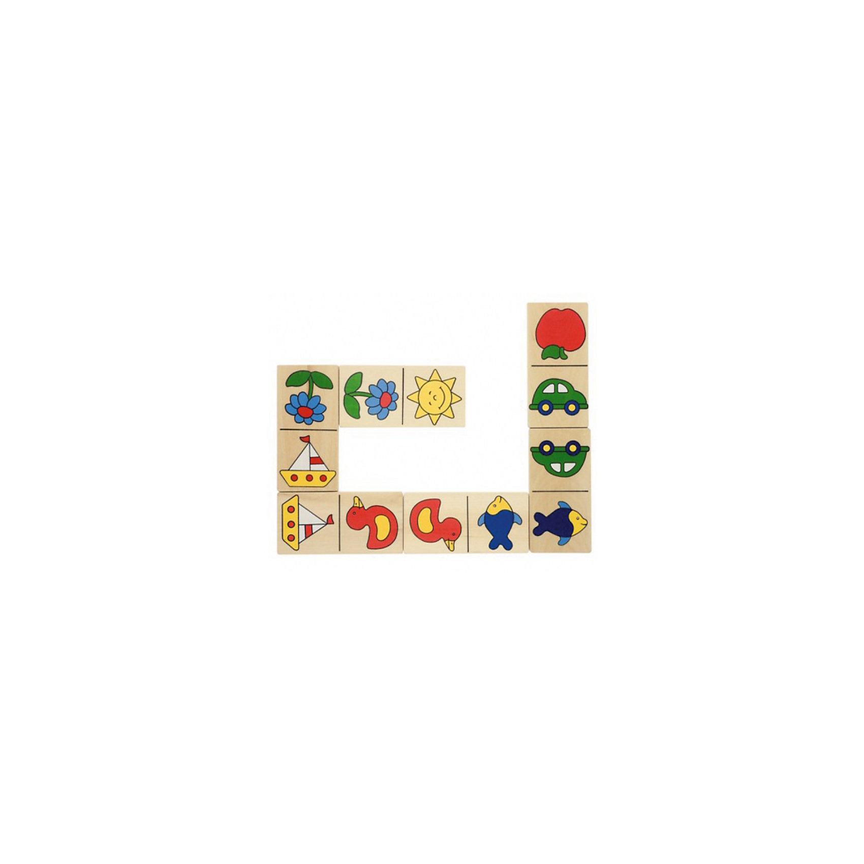 Домино Доменик (в деревянной коробке), gokiДомино Доменик (в деревянной коробке), goki (гоки) – это детский аналог традиционной игры Домино.<br>Домино Доменик - прекрасный вариант для проведения семейного досуга! Оно состоит из 28 больших элементов домино с четкими, яркими и понятными маленькому ребенку картинками с изображениями яблока, машинки, солнышка, цветка, рыбы, утки и кораблика. Большие деревянные элементы идеально подходят для маленьких детей. Домино выполнено из качественной древесины. Игра развивает логику, внимание, память, учит сравнивать и сопоставлять предметы.<br><br>Дополнительная информация:<br><br>- В наборе: 28 элементов<br>- Количество игроков: от 2 до 4 человек<br>- Размер элемента: 5x10 см.<br>- Материал: древесина, стойкие безопасные краски на водной основе без вреда для здоровья<br>- Упаковка: деревянная коробка<br>- Размер упаковки: 12,5х22,8х5 см.<br>- Вес: 670 гр.<br><br>Домино Доменик (в деревянной коробке), goki (гоки) можно купить в нашем интернет-магазине.<br><br>Ширина мм: 125<br>Глубина мм: 228<br>Высота мм: 50<br>Вес г: 670<br>Возраст от месяцев: 24<br>Возраст до месяцев: 60<br>Пол: Унисекс<br>Возраст: Детский<br>SKU: 2328655