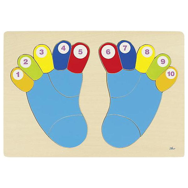 Пазл Пяточки, gokiРамки-вкладыши<br>Пазл Пяточки развивает моторику, координацию движений малыша. <br><br>Собирайте пазл вместе с ребенком, четко называя цвета и цифры, и тогда малыш, в соответствии с возрастом, быстрее освоит счет или цвета. <br><br>Дополнительная информация:<br><br>- Материалы: дерево<br>- Размер 38х26,5 см. <br>- Возраст от 2-х лет<br><br>Ширина мм: 378<br>Глубина мм: 6<br>Высота мм: 264<br>Вес г: 39<br>Возраст от месяцев: 24<br>Возраст до месяцев: 60<br>Пол: Унисекс<br>Возраст: Детский<br>SKU: 2328671