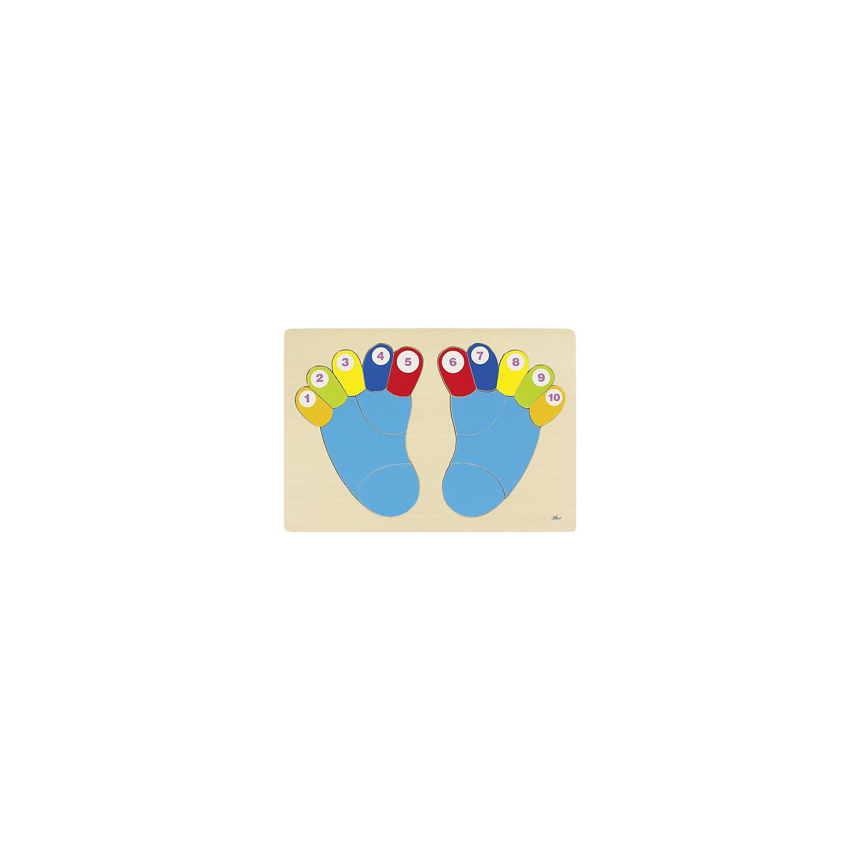 Пазл Пяточки, gokiДеревянные игры и пазлы<br>Пазл Пяточки развивает моторику, координацию движений малыша. <br><br>Собирайте пазл вместе с ребенком, четко называя цвета и цифры, и тогда малыш, в соответствии с возрастом, быстрее освоит счет или цвета. <br><br>Дополнительная информация:<br><br>- Материалы: дерево<br>- Размер 38х26,5 см. <br>- Возраст от 2-х лет<br><br>Ширина мм: 378<br>Глубина мм: 6<br>Высота мм: 264<br>Вес г: 39<br>Возраст от месяцев: 24<br>Возраст до месяцев: 60<br>Пол: Унисекс<br>Возраст: Детский<br>SKU: 2328671