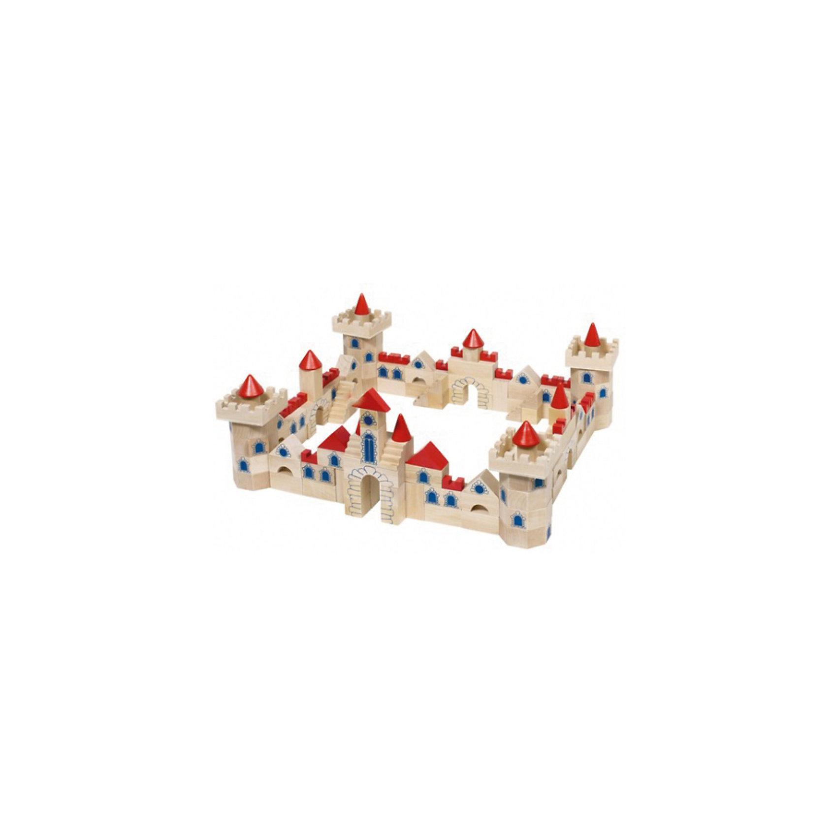 TOYS PURE Деревянный конструктор Рыцарский замокДеревянный конструктор для строительства большого замка из элементов различной формы и назначения. <br><br>Строительные блоки выполнены из гладкого неокрашенного дерева, на некоторых нарисованы контуры камней, окна. Кубики-блоки для крыш и башенных зубцов окрашены в ярко-красный цвет.<br><br>В комплекте блоки разнообразных форм – бруски, кубы, цилиндры, треугольники, конуса, шестигранники и другие.<br><br>Можно возвести настоящий рыцарский замок, как на упаковке, или придумать самому.<br><br>Игра со строительными кубиками развивает фантазию и воображение, пространственное представление, конструкторские способности и логическое мышление, а также мелкую моторику рук, ловкость и координацию движений.<br><br>Дополнительная информация:<br><br>Кубики уложены в удобный деревянный ящичек со сдвижной крышкой.<br><br>В комплекте 145 блоков различной формы.<br><br>Материал дерево – экологически чистый материал, стойкие безопасные краски.<br><br>Размер упаковки: 42,5 х 27 х 7 см.<br><br>Вес с упаковкой: 3,7 кг.<br><br>Построй замок своей мечты!<br><br>Ширина мм: 415<br>Глубина мм: 64<br>Высота мм: 256<br>Вес г: 3696<br>Возраст от месяцев: 36<br>Возраст до месяцев: 72<br>Пол: Мужской<br>Возраст: Детский<br>SKU: 2328673