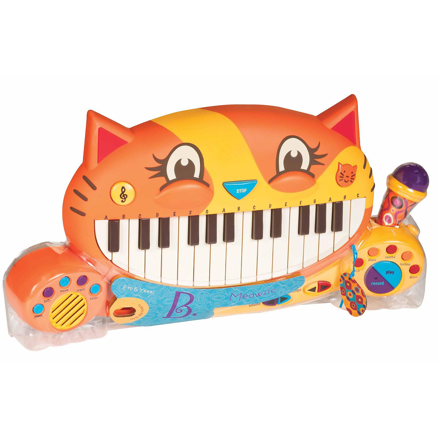 Мини-пианино, B DOTРазвивать музыкальные способности можно с детства! Это небольшое пианино очень удобно - его можно брать с собой в дорогу, благодаря продуманной форме хранится она очень компактно. Игра на музыкальных инструментах развивает также мелкую моторику и художественный вкус. Такая игрушка надолго занимает детей и помогает увлекательно провести время!<br>Это пианино имеет 28 клавиш и много кнопок - оно может играть как колокольчик, орган, банджо, а так же мяукать. Если нажать на кнопку со скрипичным ключом, малыш услышит семь разных мелодий, а при нажатии на кнопку в виде мордочки кота - двадцать песен на английском языке. Также можно записать свои мелодии и слушать их. Пианино дополнено микрофоном и кнопками регулирования громкости голоса, звука и темпа мелодий. Игрушка разработана опытными специалистами, сделана из высококачественных материалов, безопасных для детей.<br><br>Дополнительная информация:<br><br>материал: пластик;<br>размер: 48 х 27 x 5 см;<br>в комплекте: 4 батарейки 1,5V АА .<br><br>Мини-пианино от компании B DOT можно купить в нашем магазине.<br><br>Ширина мм: 510<br>Глубина мм: 250<br>Высота мм: 70<br>Вес г: 270<br>Возраст от месяцев: 36<br>Возраст до месяцев: 72<br>Пол: Унисекс<br>Возраст: Детский<br>SKU: 2329020